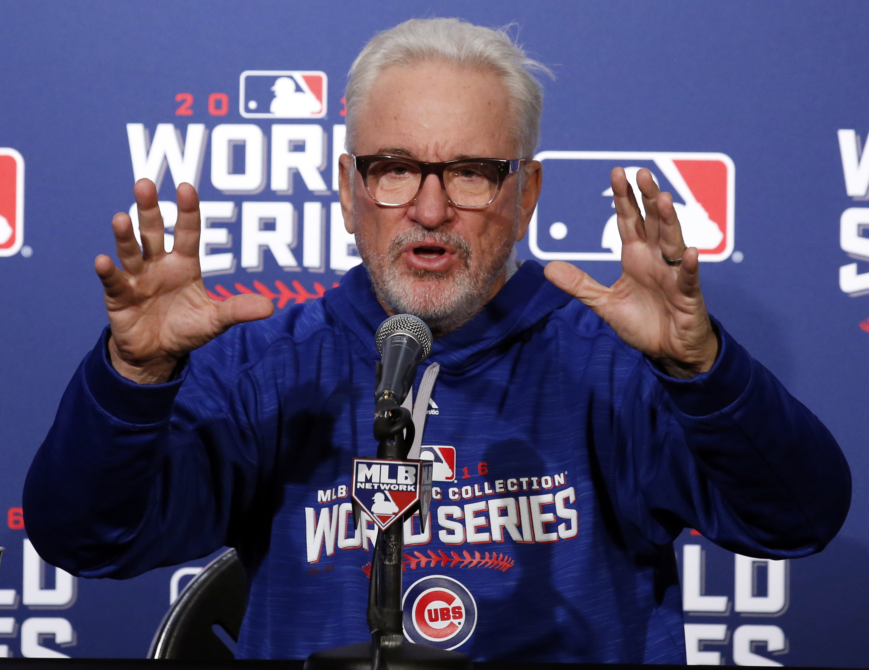 FILE - In this Oct. 27, 2016 file photo, Chicago Cubs manager Joe Maddon answers a question during a news conference before Game 3 of the Major League Baseball World Series against the Cleveland Indians in Chicago. Maddon has kept it positive for his team