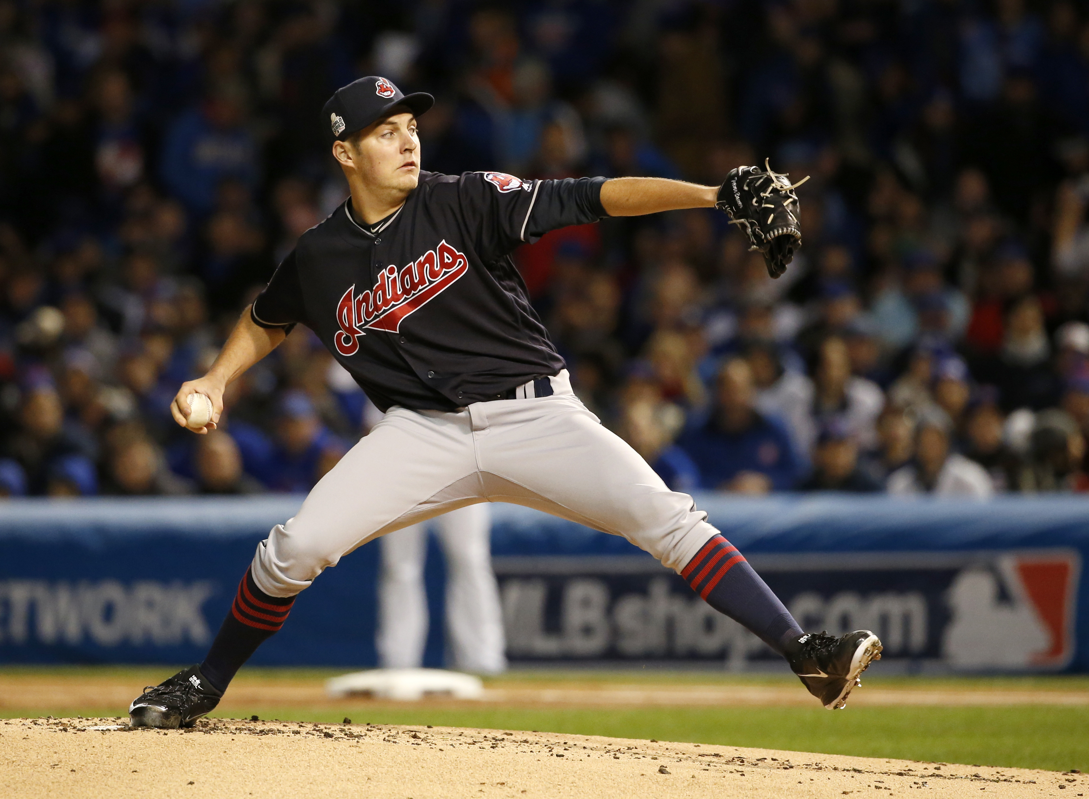 Cleveland Indians starting pitcher Trevor Bauer throws during the first inning of Game 5 of the Major League Baseball World Series against the Chicago Cubs, Sunday, Oct. 30, 2016, in Chicago. (AP Photo/Nam Y. Huh)