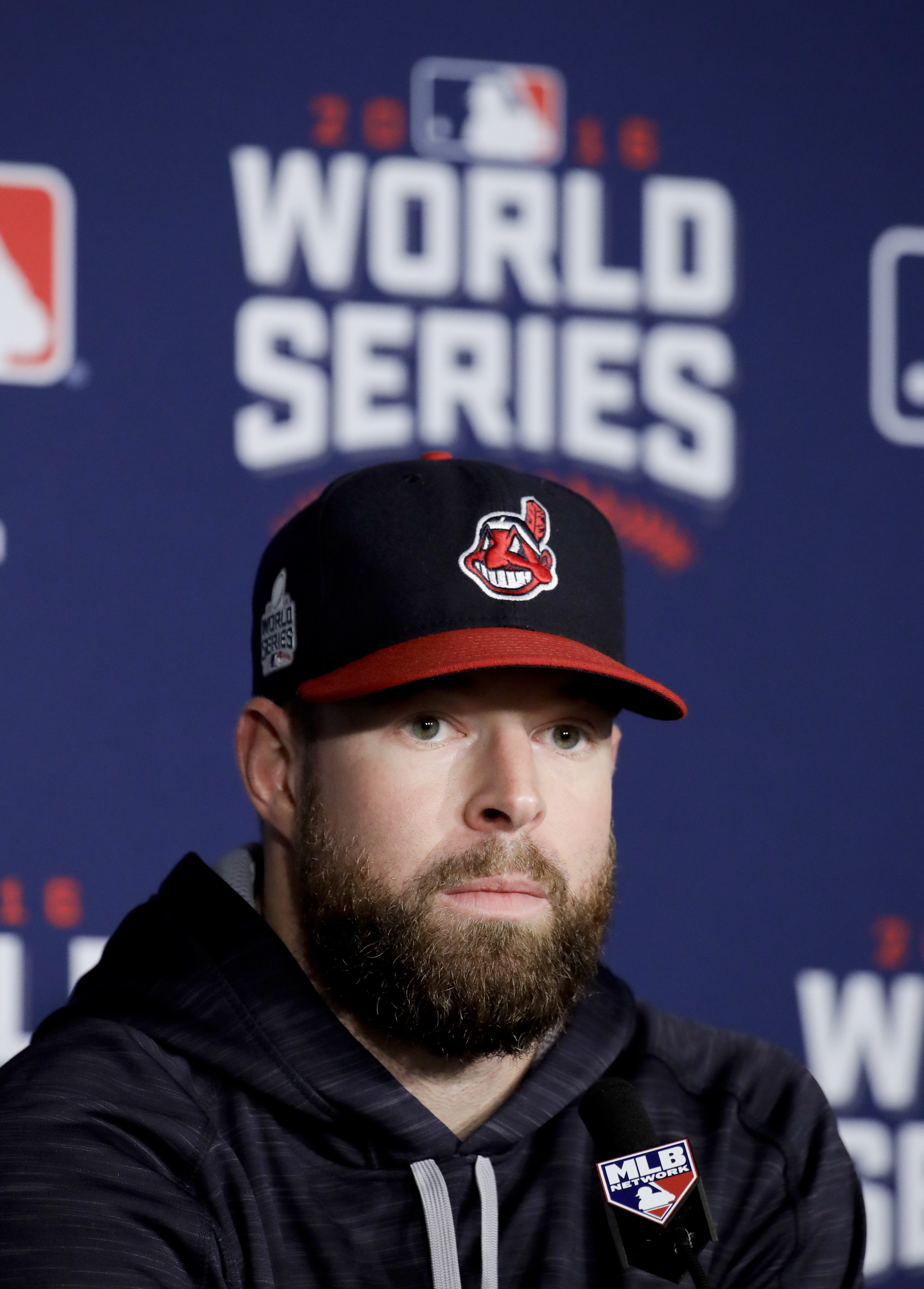 Cleveland Indians starting pitcher Corey Kluber talks during a news conference before Game 6 of the Major League Baseball World Series against the Chicago Cubs Tuesday, Nov. 1, 2016, in Cleveland. (AP Photo/Gene J. Puskar)