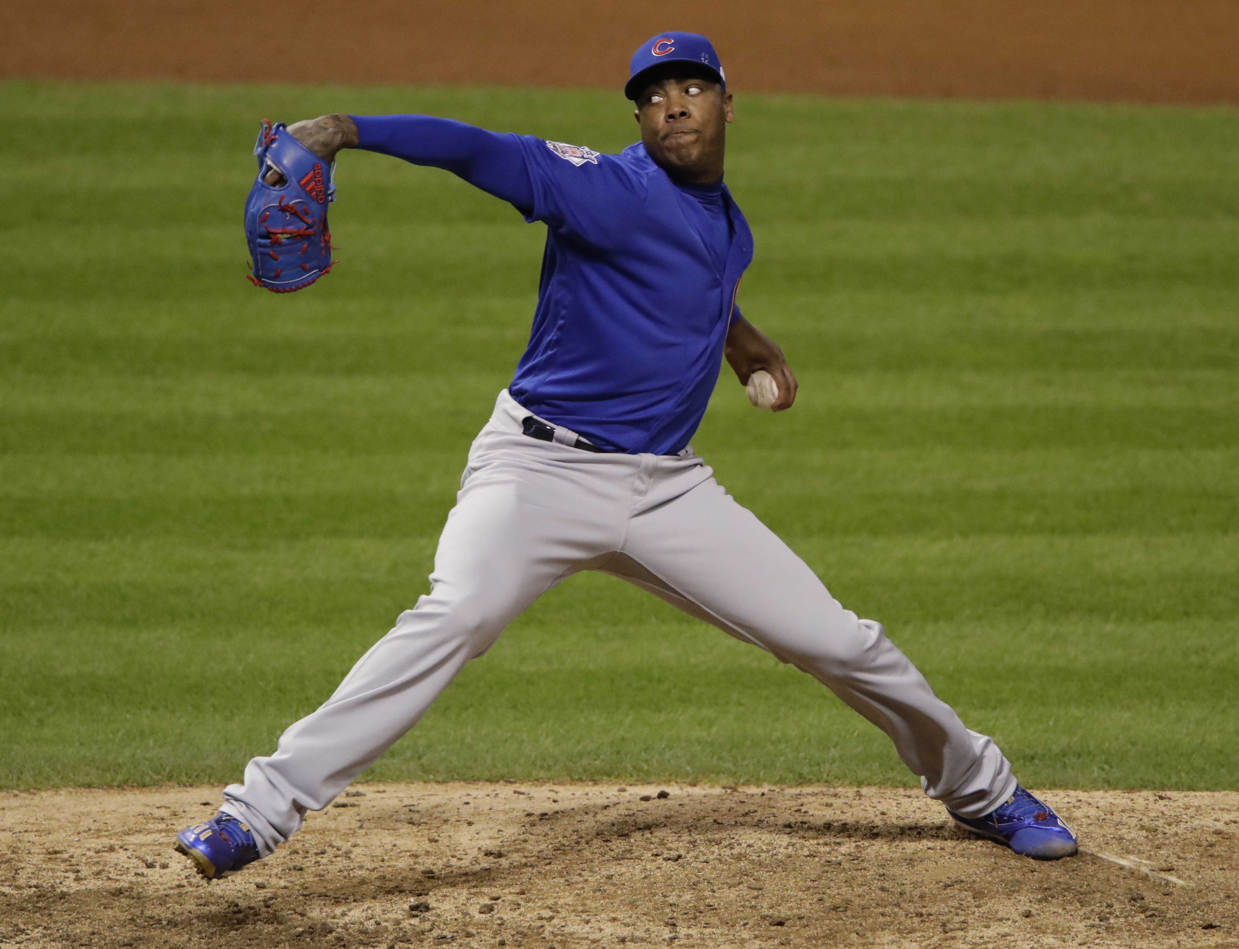 Chicago Cubs relief pitcher Aroldis Chapman throws during the seventh inning of Game 6 of the Major League Baseball World Series against the Cleveland Indians Tuesday, Nov. 1, 2016, in Cleveland. (AP Photo/Gene J. Puskar)