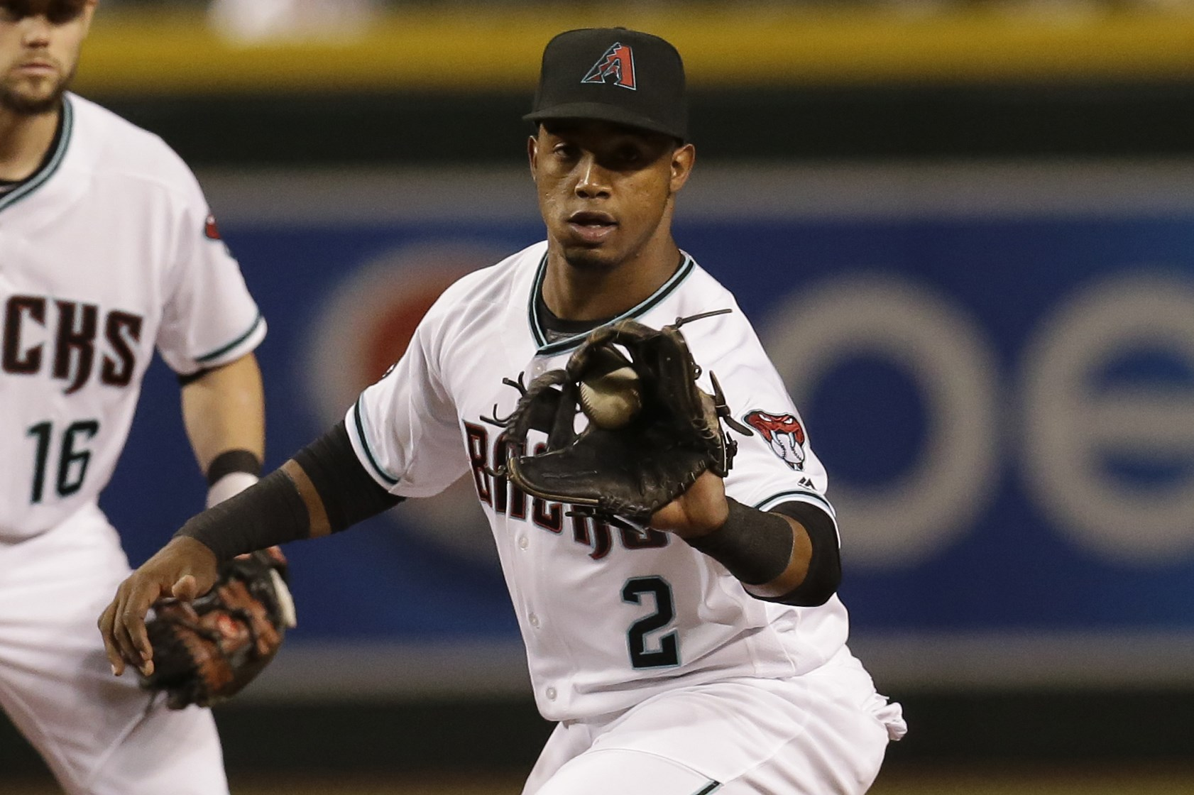 Arizona Diamondbacks second baseman Jean Segura (2) in the first inning during a baseball game against the San Diego Padres, Friday, Sept. 30, 2016, in Phoenix. (AP Photo/Rick Scuteri)