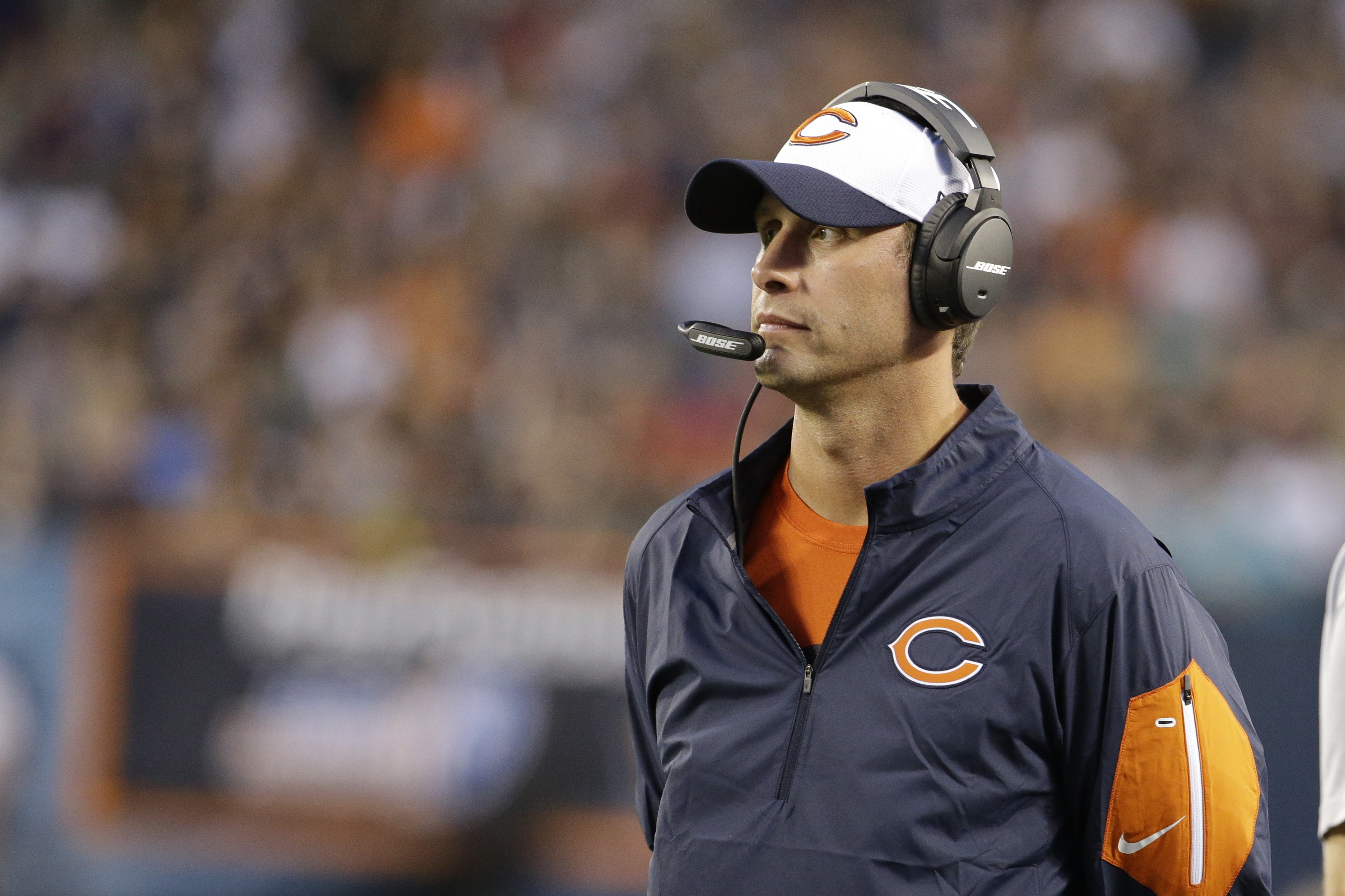 FILE - In this Aug. 13, 2015, file photo, Chicago Bears offensive coordinator Adam Gase during the first half of an NFL preseason football game against the Miami Dolphins in Chicago. Gase and defensive coordinator Vic Fangio could be candidates for head c