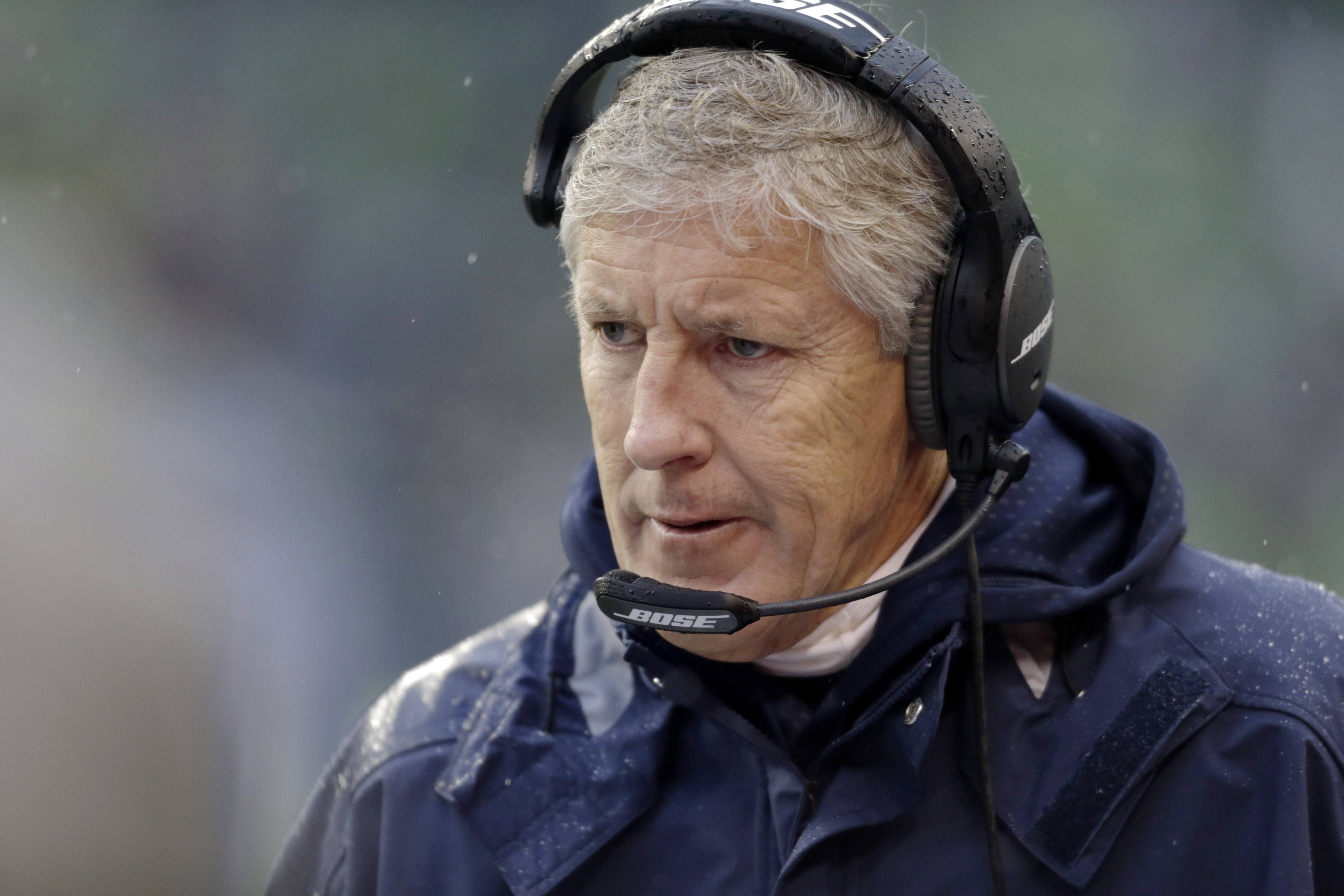 FILE - In this Sunday, Dec. 27, 2015, file photo, Seattle Seahawks head coach Pete Carroll walks on the sidelines during the first half of an NFL football game against the St. Louis Rams in Seattle. Seattle has the most uncertainty of where it's headed go