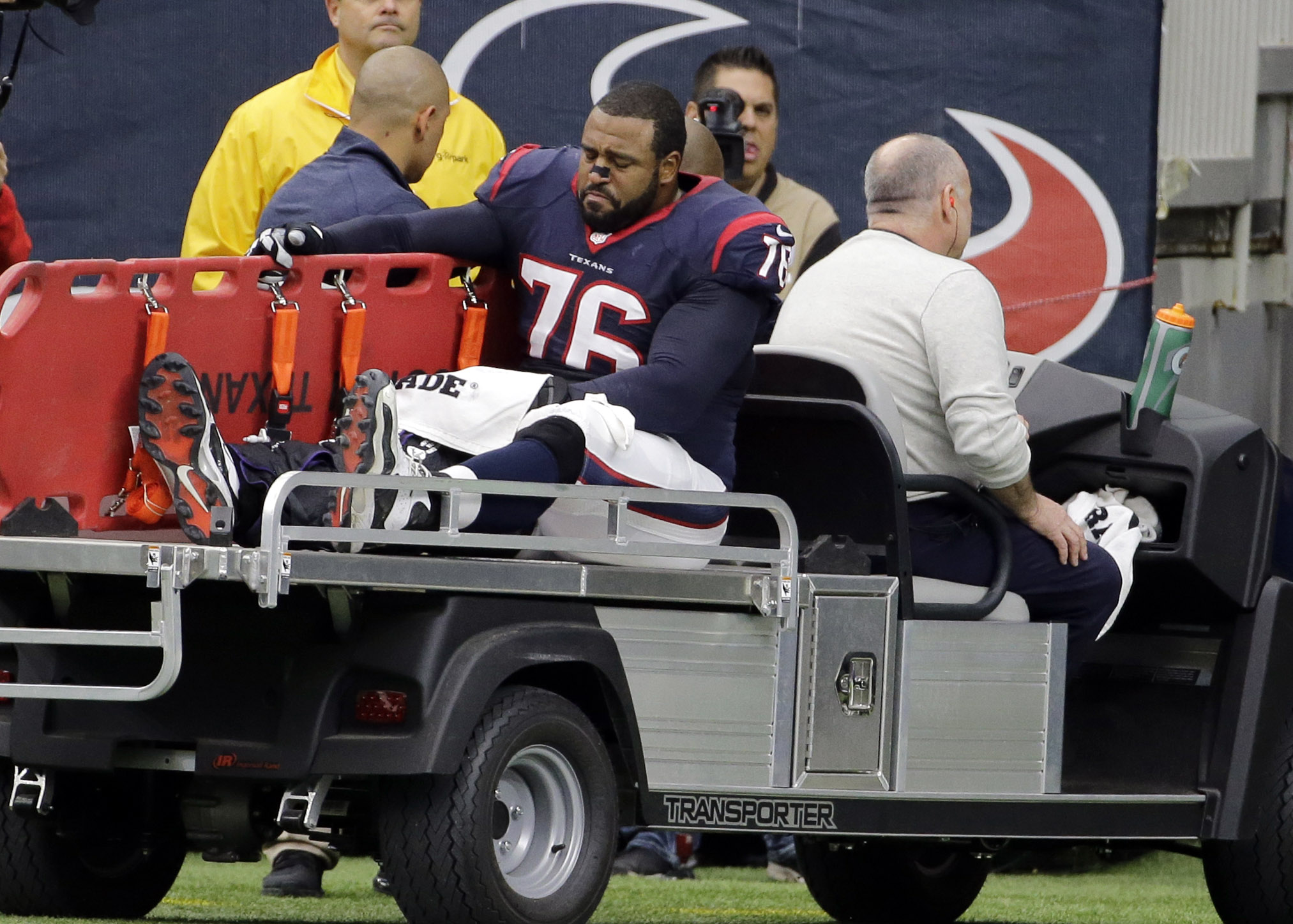 Houston Texans tackle Duane Brown (76) is carted off the field after he was injured during the first half an NFL football game against the Jacksonville Jaguars, Sunday, Jan. 3, 2016, in Houston. (AP Photo/David J. Phillip)