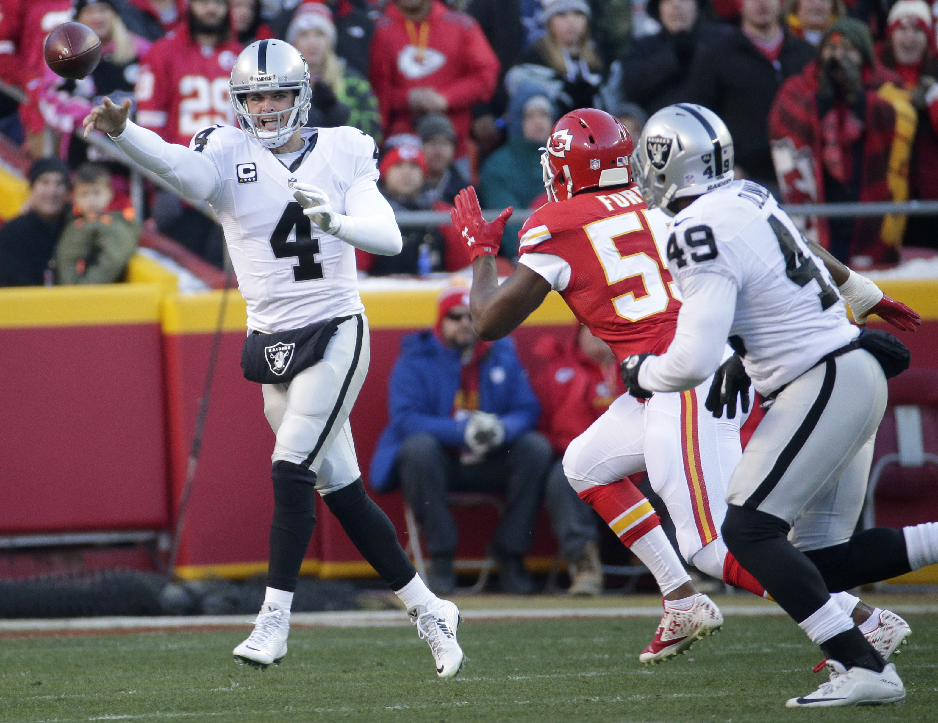 Oakland Raiders quarterback Derek Carr (4) throws under pressure from Kansas City Chiefs linebacker Dee Ford (55), with fullback Jamize Olawale (49) watching during the first half of an NFL football game in Kansas City, Mo., Sunday, Jan. 3, 2016. (AP Phot