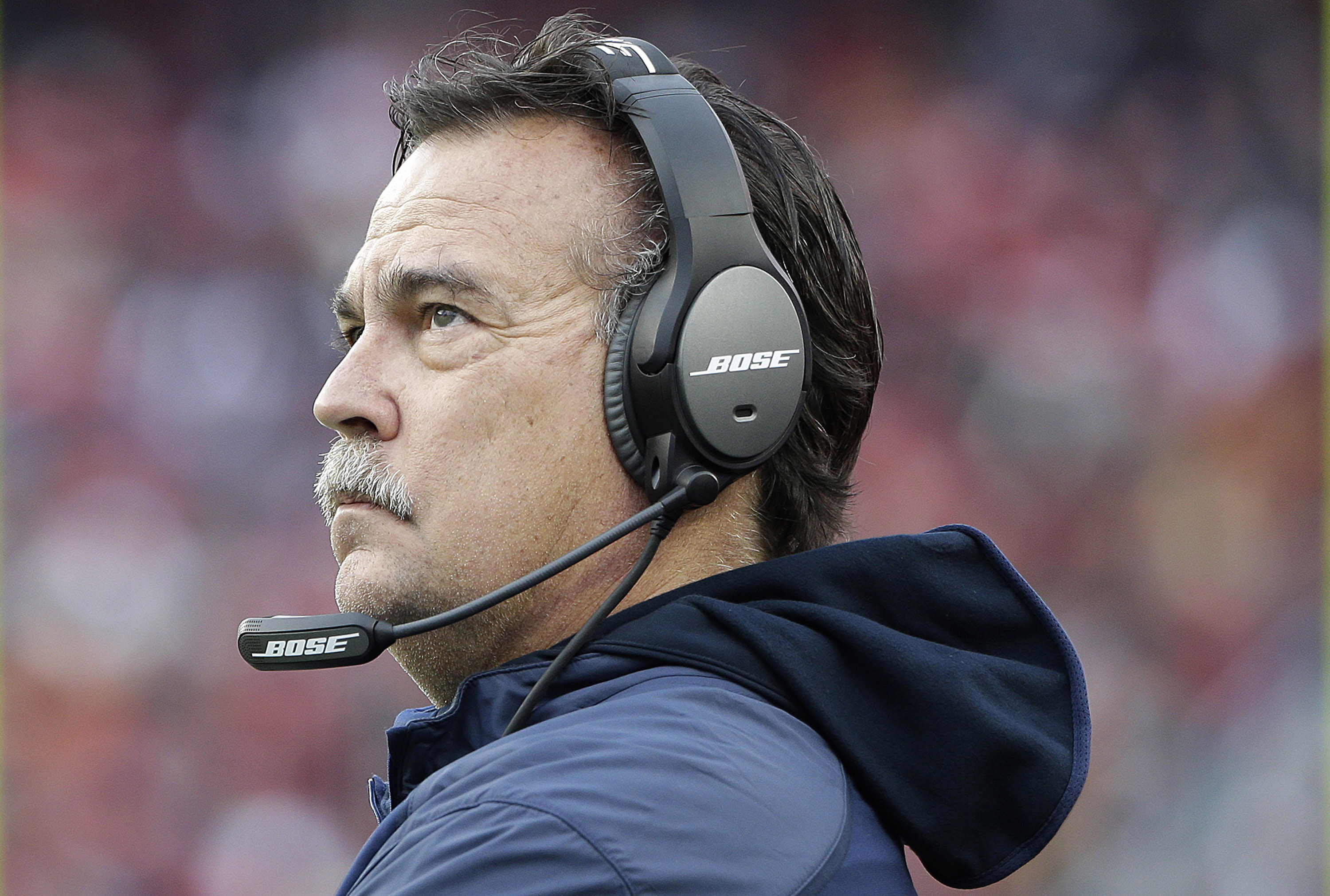 St. Louis Rams head coach Jeff Fisher watches from the sideline during the second half of an NFL football game against the San Francisco 49ers in Santa Clara, Calif., Sunday, Jan. 3, 2016. (AP Photo/Marcio Jose Sanchez)