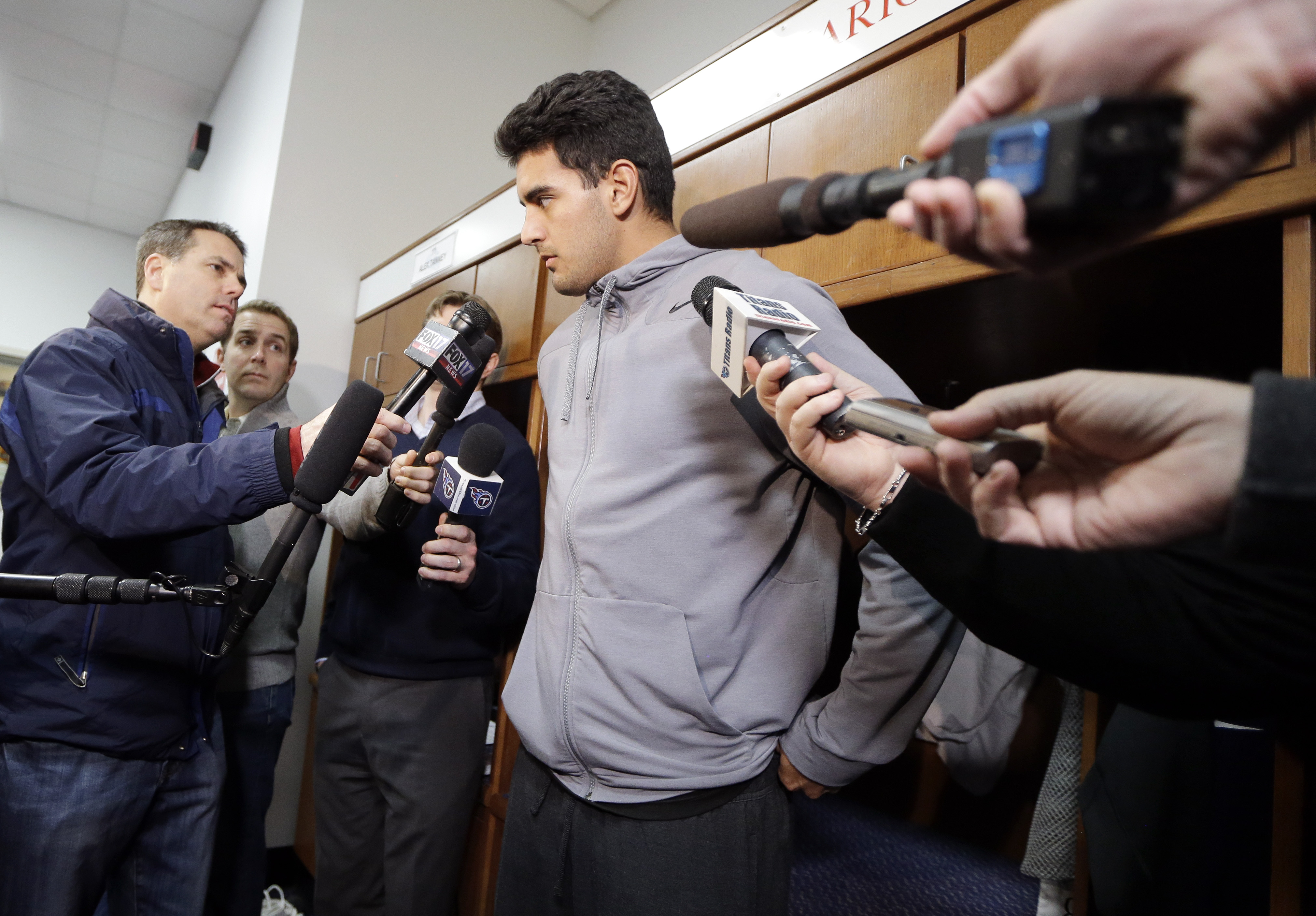 Tennessee Titans quarterback Marcus Mariota talks with reporters Monday, Jan. 4, 2016, in Nashville, Tenn. The Titans finished the season 3-13. The team announced Monday that the contract of general manager Ruston Webster will not be renewed and interim h