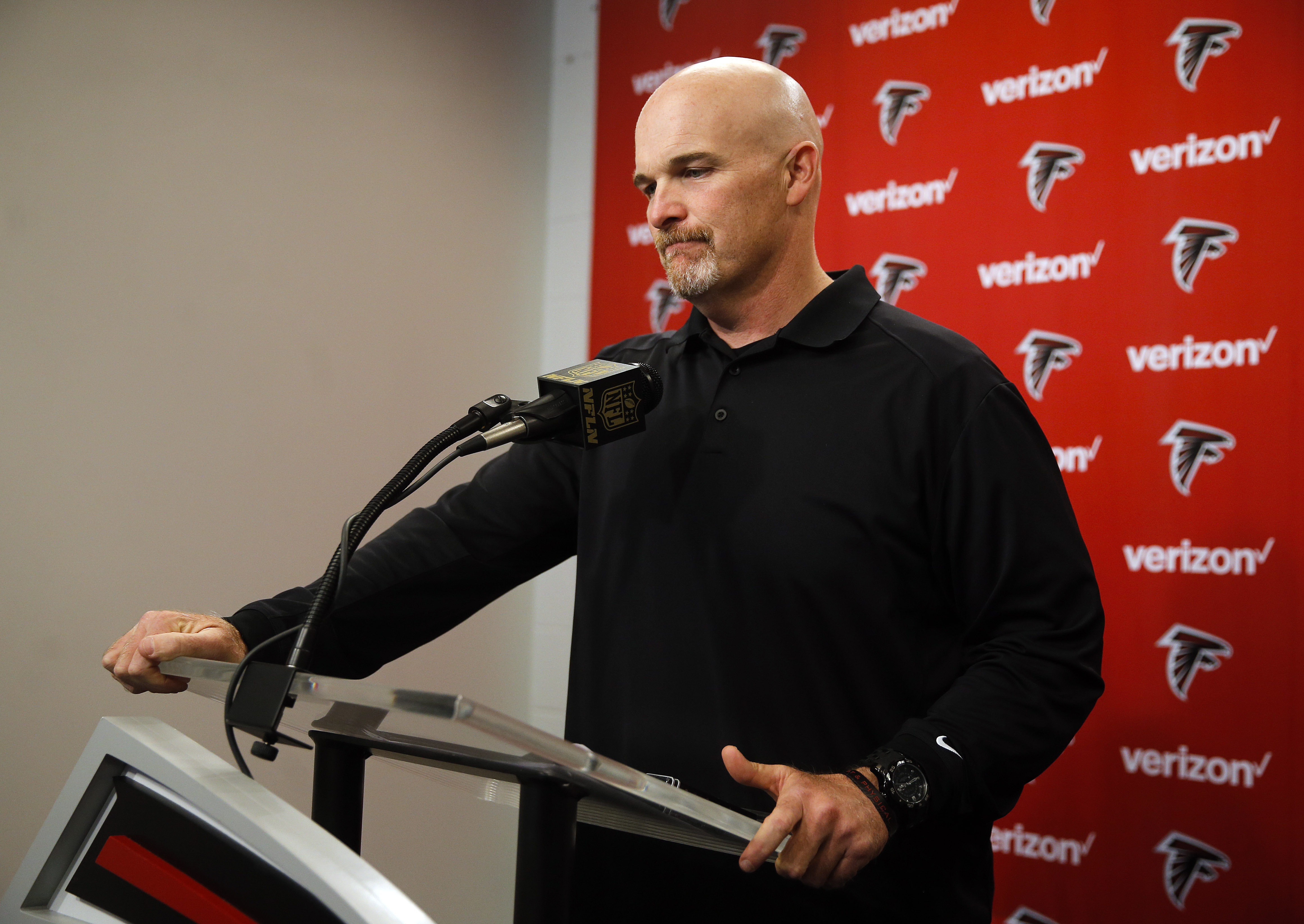 Atlanta Falcons NFL football head coach Dan Quinn speaks during a news conference at team headquarters  Monday, Jan. 4, 2016, in Flowery Branch, Ga. The Falcons finished the season 8-8 after a 20-17 loss to New Orleans on Sunday. (AP Photo/John Bazemore)