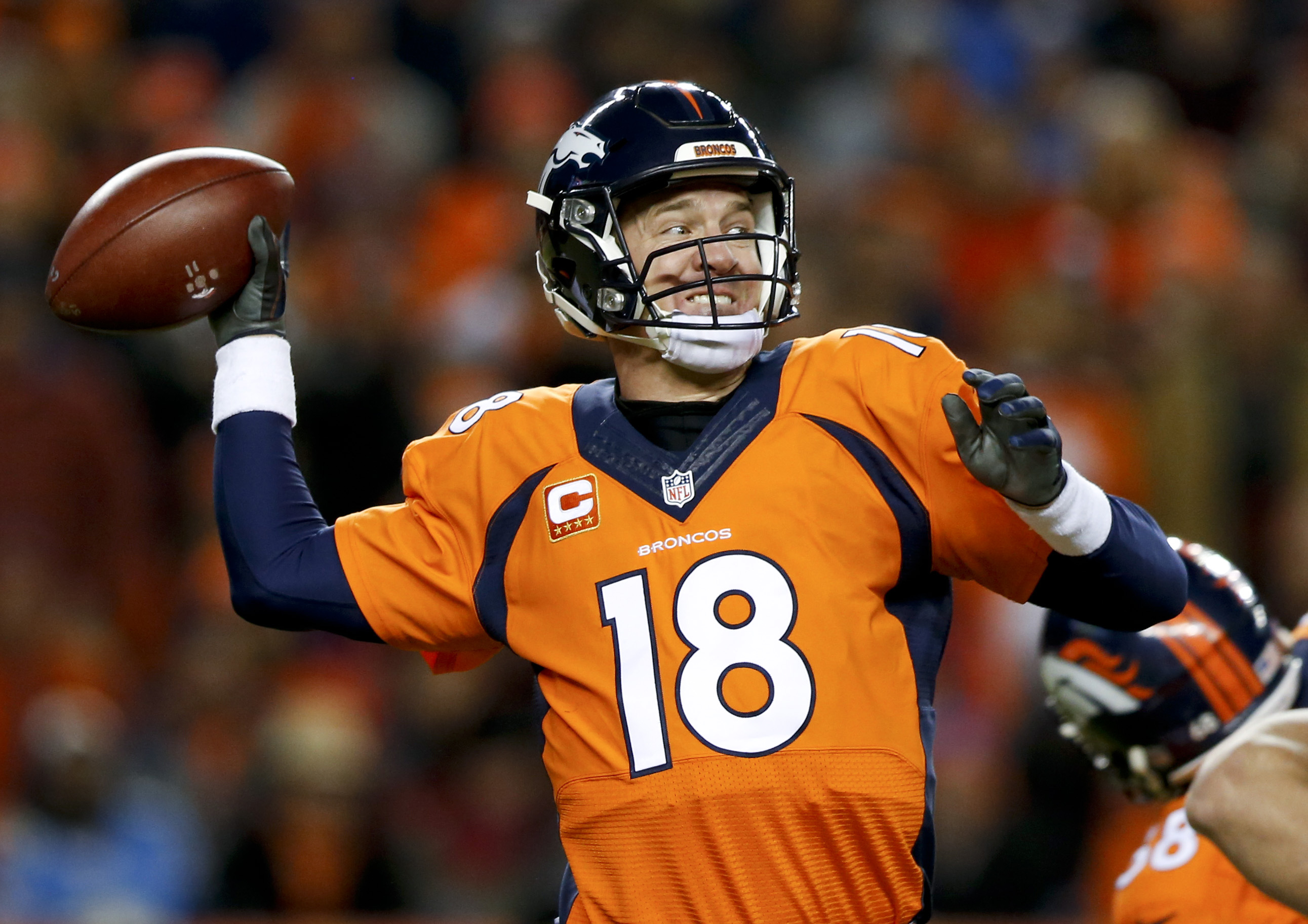 In this Sunday, Jan. 3, 2016, photograph, Denver Broncos quarterback Peyton Manning passes against the San Diego Chargers during the second half of an NFL football game in Denver. Who will start for the Broncos in the Jan. 17 divisional playoff game?  (AP