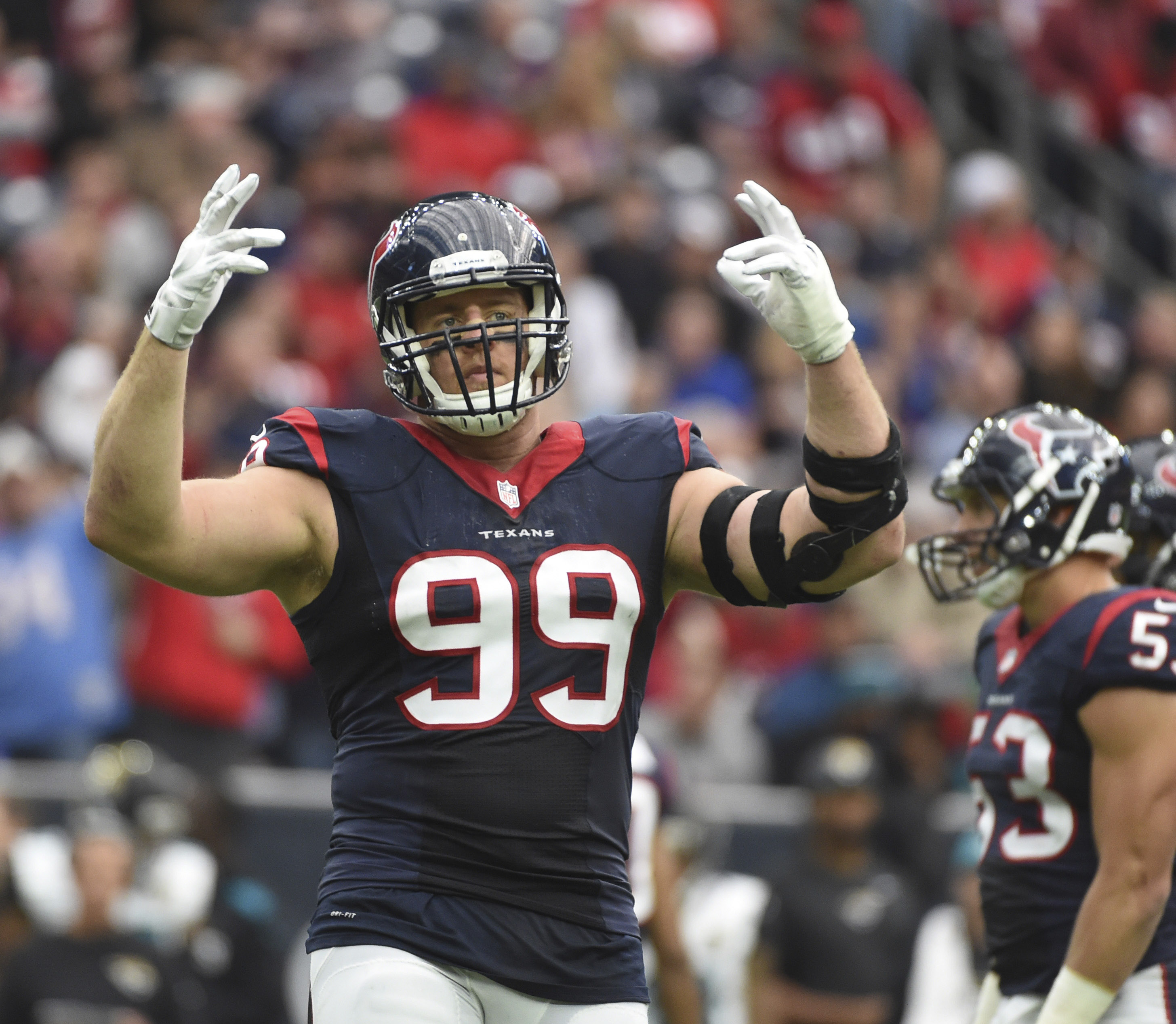 FILE - In this Sunday, Jan. 3, 2016 file photo, Houston Texans defensive end J.J. Watt (99) is shown during the first half of an NFL football game in Houston. (AP Photo/Eric Christian Smith, File)