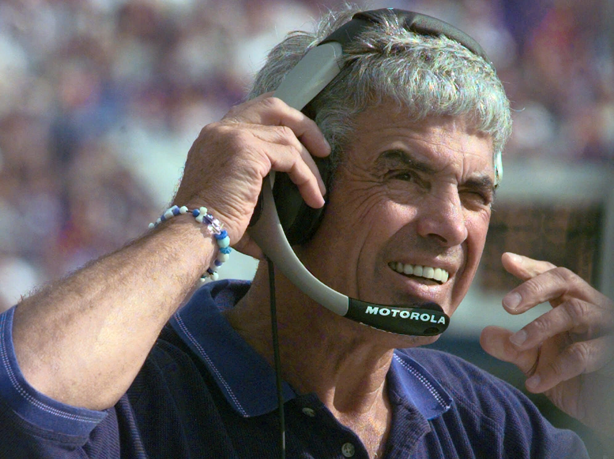 FILE - In this Sunday, Oct. 1, 2000 file photo, Indianapolis Colts coach Jim Mora watches the an NFL football game against the Buffalo Bills during the fourth quarter at Ralph Wilson Stadium in Orchard Park, N.Y. After losing a wild-card round game to Hou