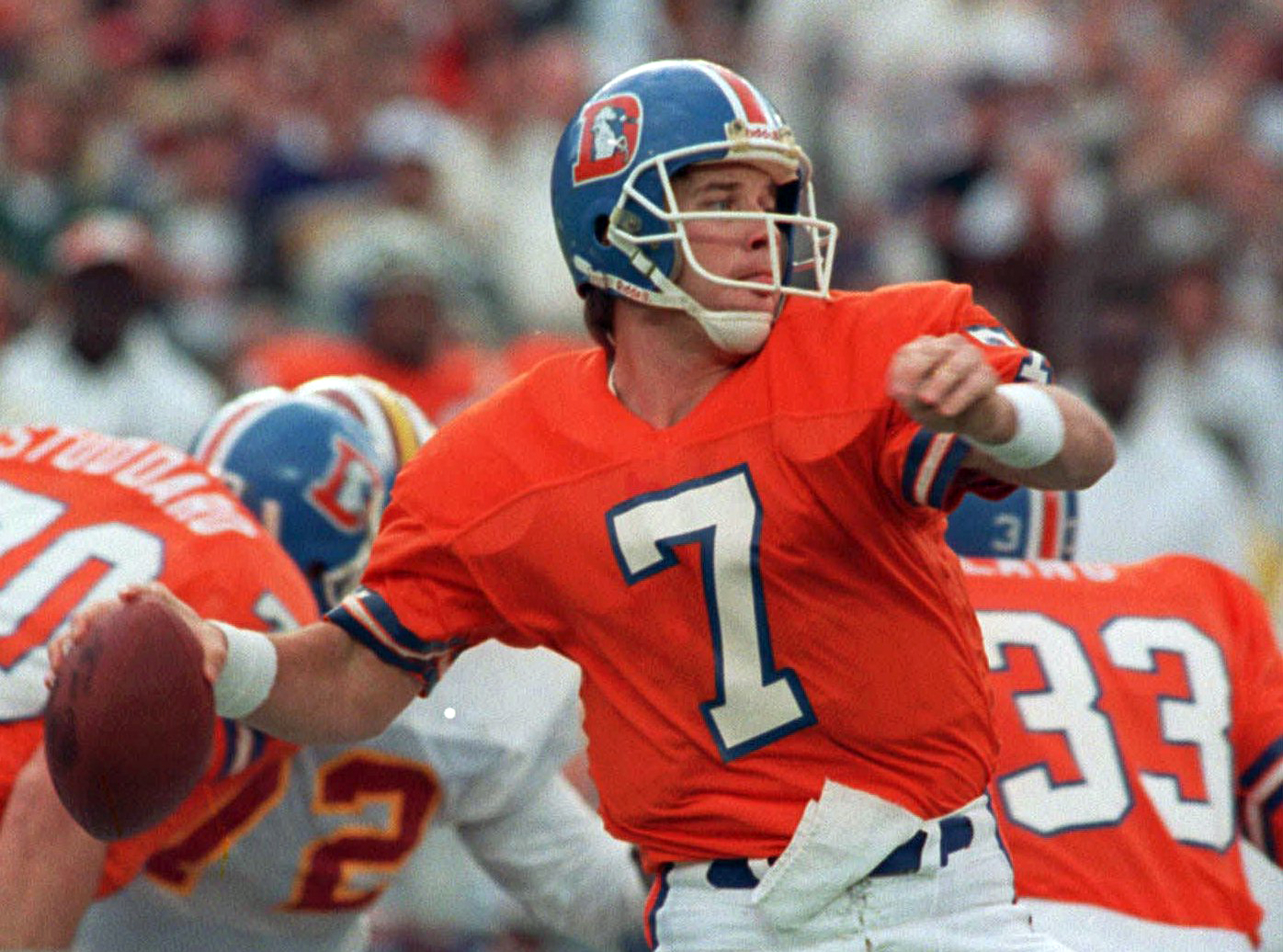 FILE - In this Jan. 31, 1988, file photo, Denver Broncos quarterback John Elway winds up to let go of a 56-yard touchdown pass to wide receiver Ricky Nattiel in the first quarter of Super Bowl XXII against the Washington Redskins in San Diego, Calif. Elwa