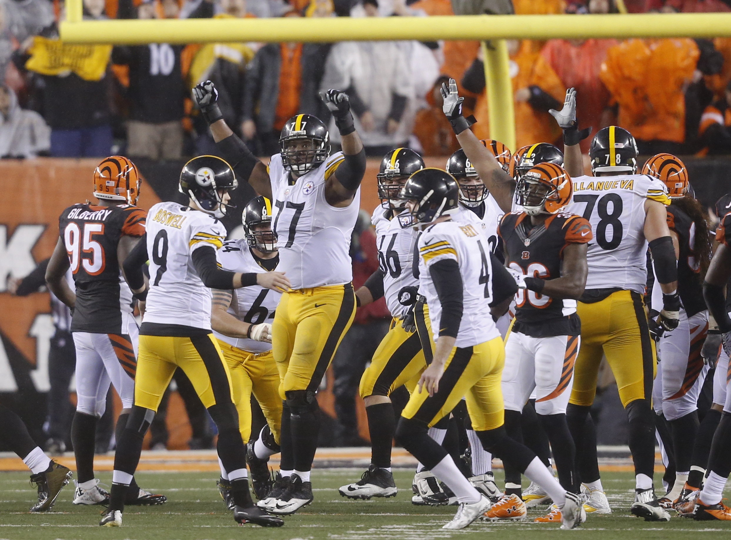 Pittsburgh Steelers' Chris Boswell (9) celebrates a 35-yard game inning field goal during the second half of an NFL wild-card playoff football game against the Cincinnati Bengals, Sunday, Jan. 10, 2016, in Cincinnati. Pittsburgh won 18-16. (AP Photo/Frank