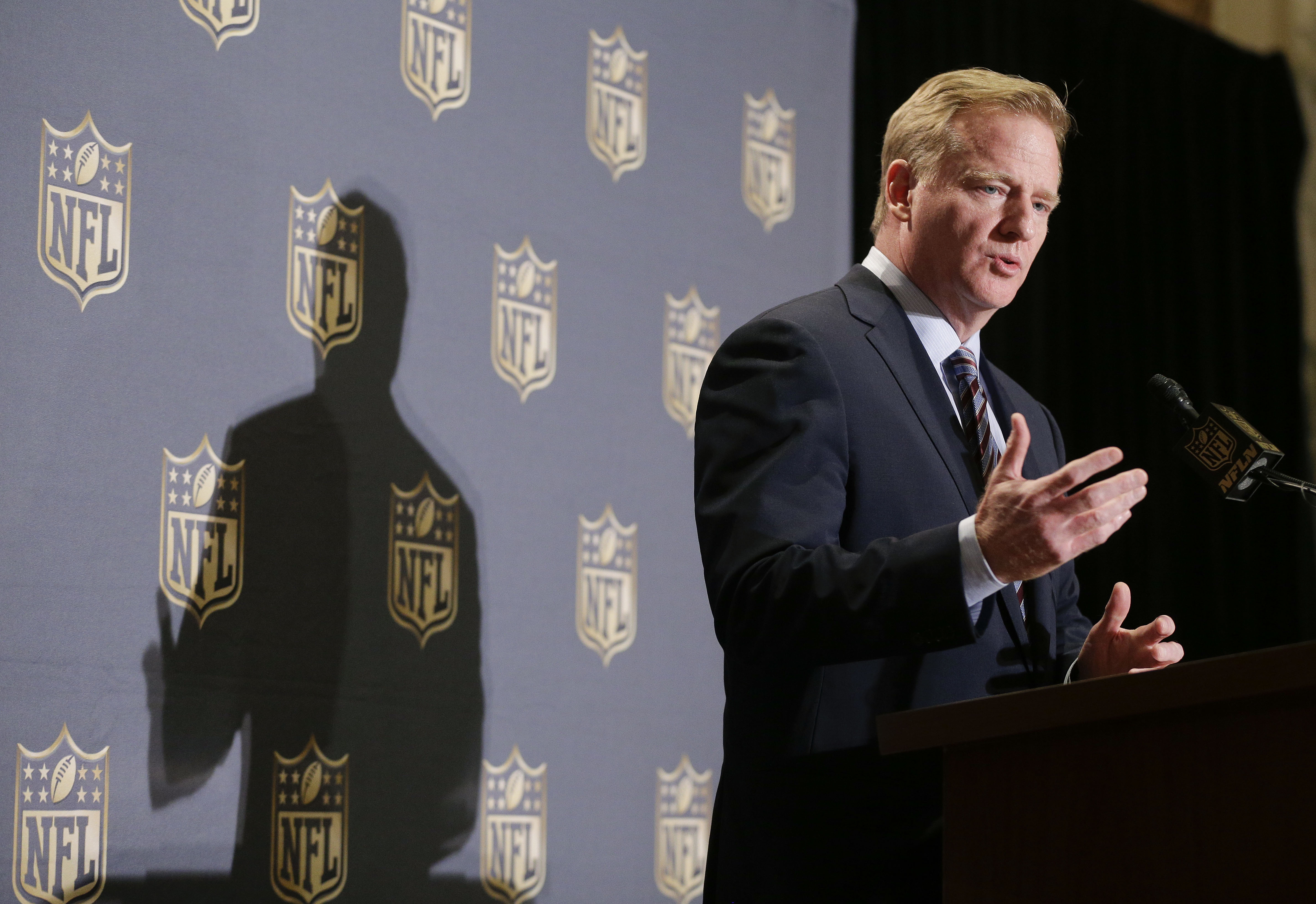 FILE - In this Wednesday, Oct. 7, 2015, file photo, NFL Commissioner Roger Goodell speaks during a news conference at the conclusion of the league's fall meetings, in New York. NFL owners are set for two days of meetings starting Tuesday, Jan. 12, 2016, i