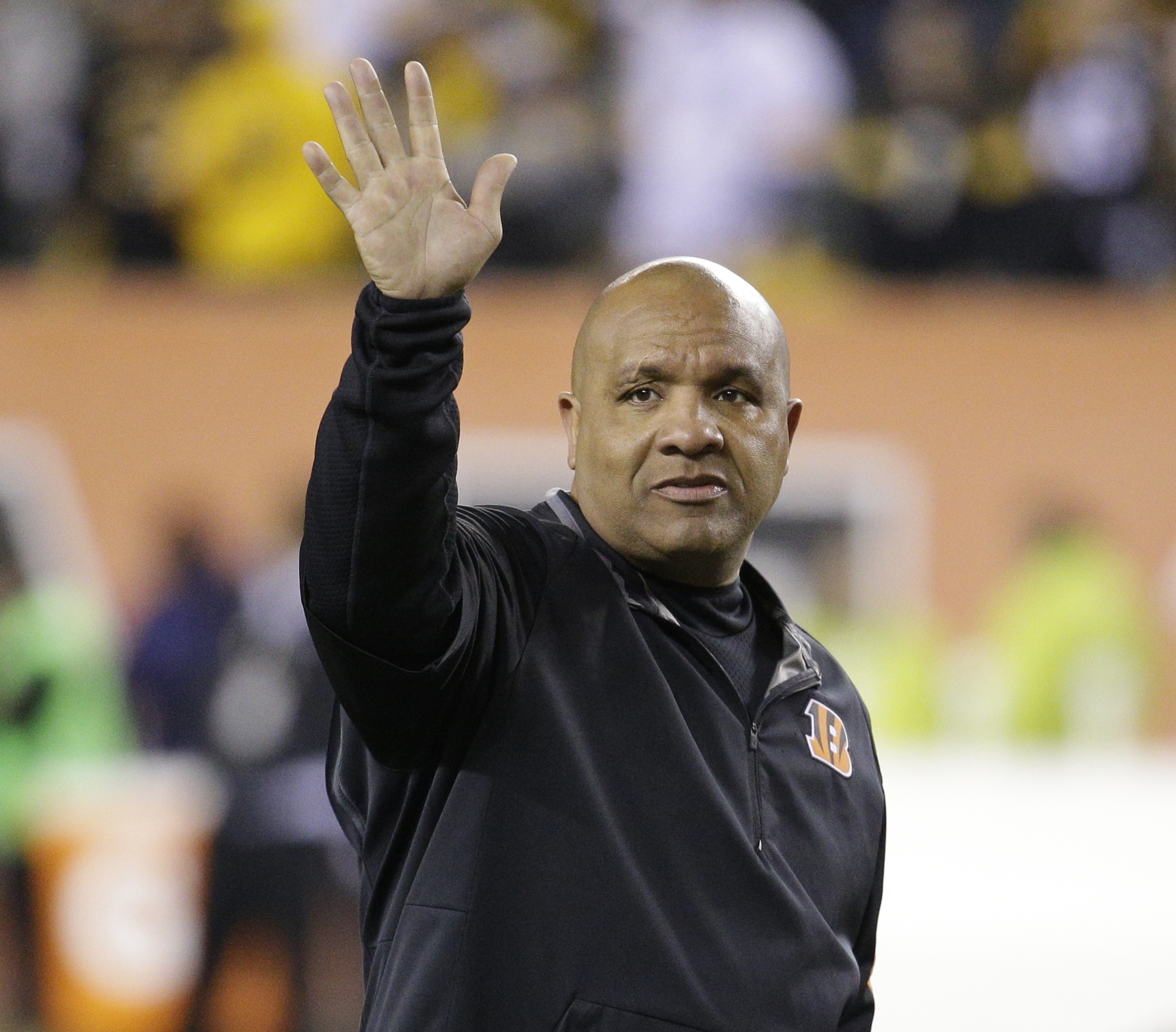 FILE - This Jan. 9, 2016 file photo shows Cincinnati Bengals offensive coordinator Hue Jackson before an NFL wild-card playoff football game between the Cincinnati Bengals and the Pittsburgh Steelers in Cincinnati. Just hours after Cincinnati lost to Pitt