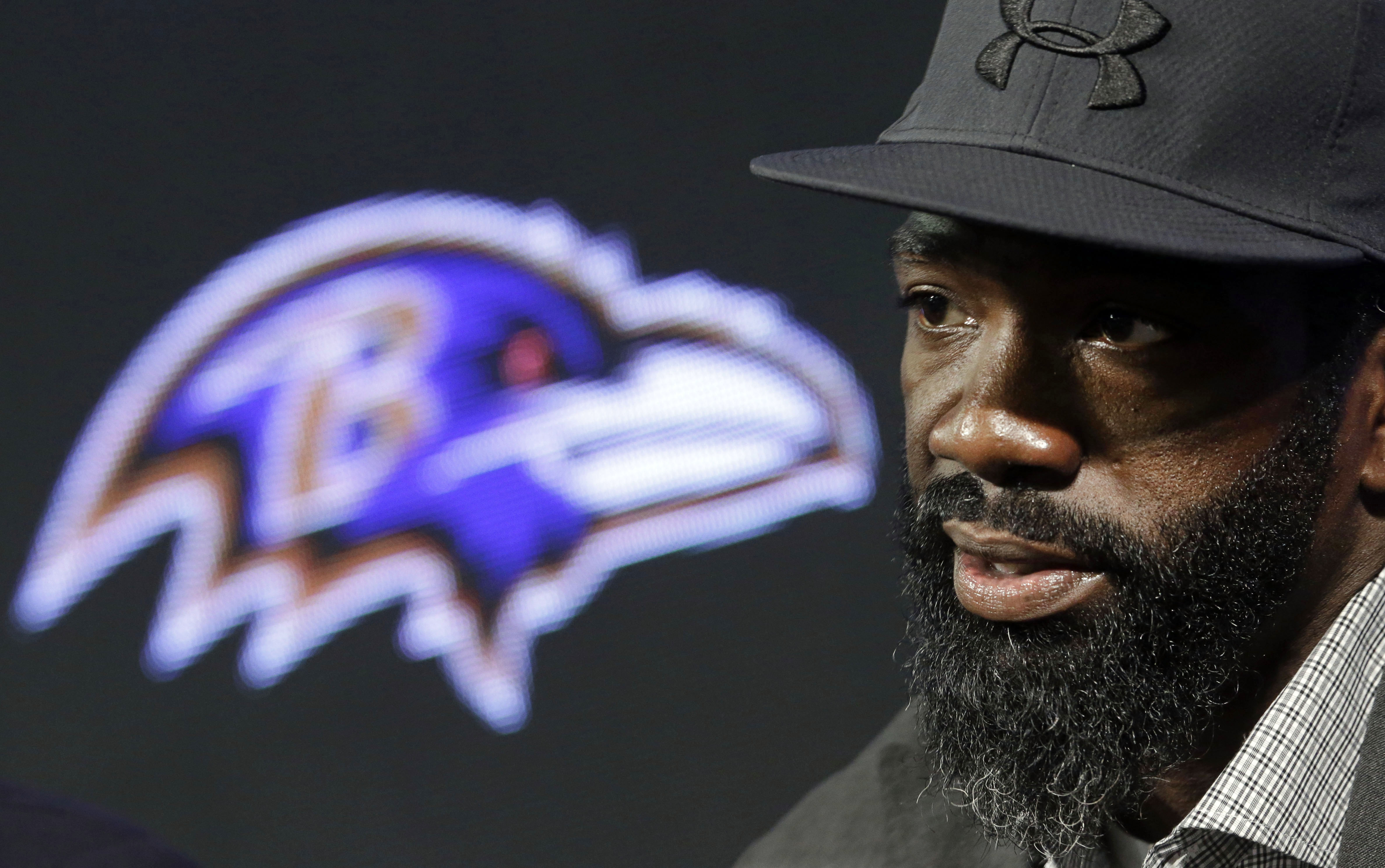 FILE - In this May 7, 2015, file photo, Baltimore Ravens safety Ed Reed speaks at an NFL football news conference announcing his retirement, in Owings Mills, Md. The Buffalo Bills announced Wednesday, Jan. 13, 2016, that Reed agreed in principle to be an