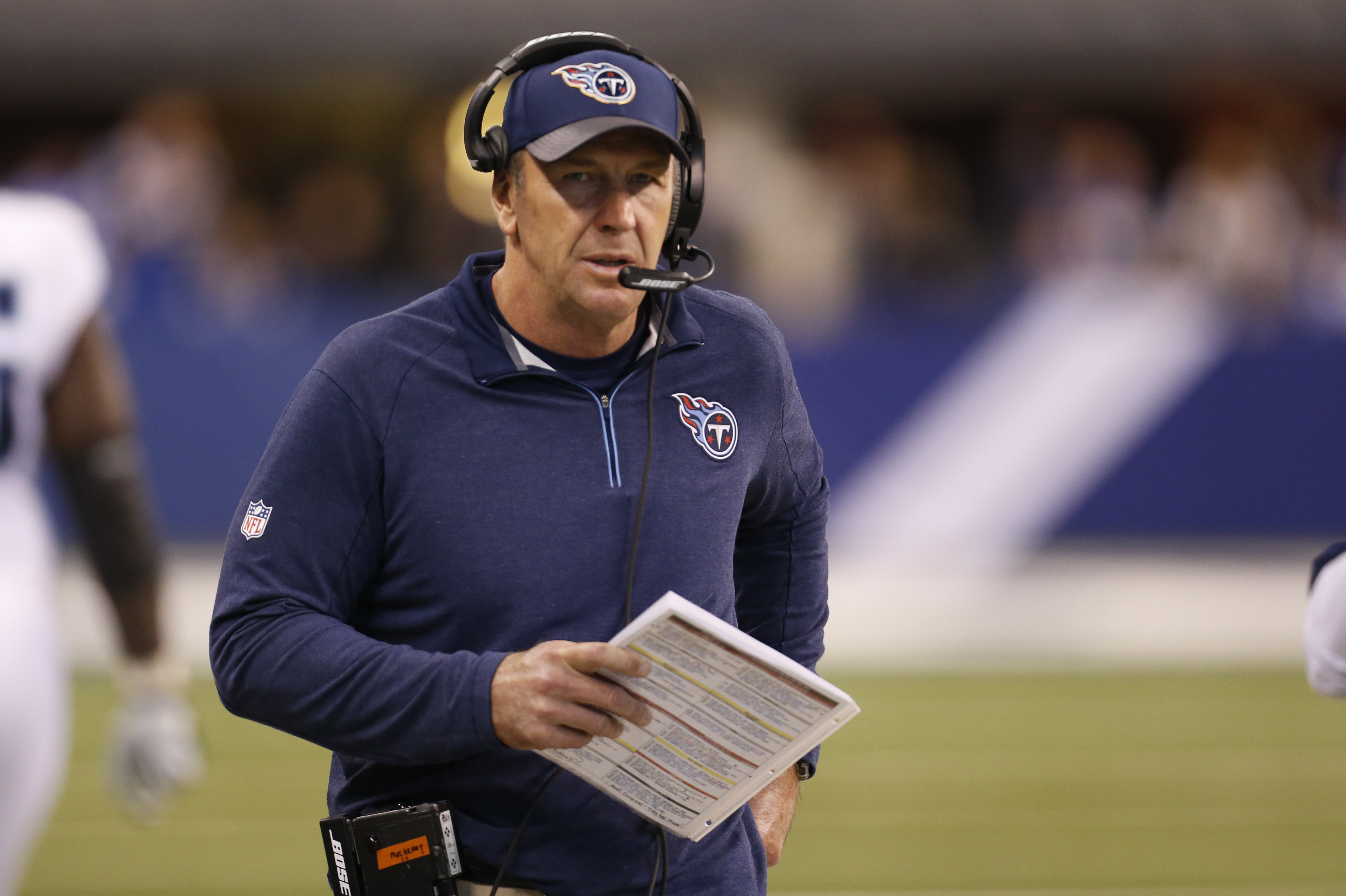 FILE - In this Sunday, Jan. 3, 2016 file photo, Tennessee Titans interim head coach Mike Mularkey looks on during the second half of an NFL football game against the Indianapolis Colts in Indianapolis. The Tennessee Titans have hired Mike Mularkey as thei
