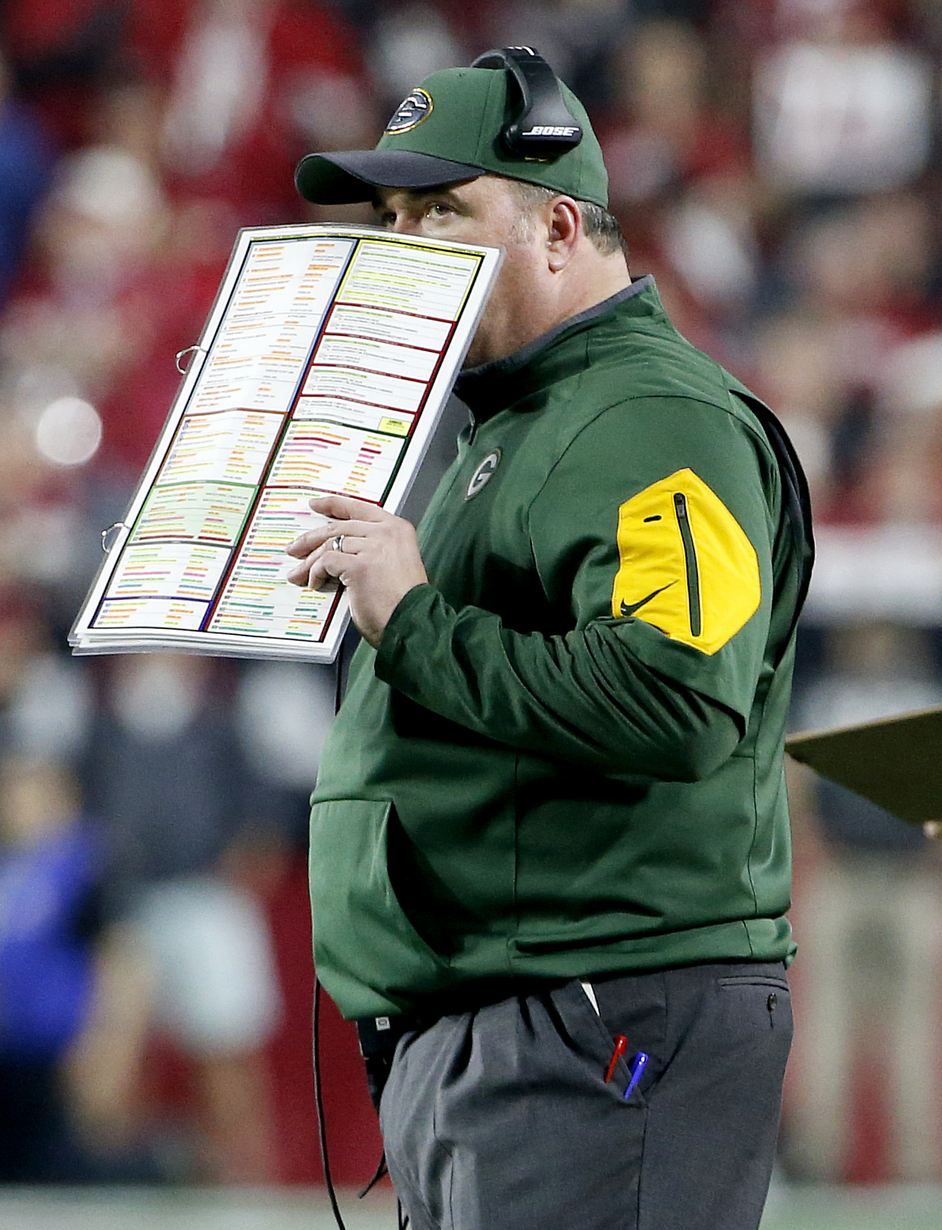 Green Bay Packers head coach Mike McCarthy makes a call against the Arizona Cardinals during the second half of an NFL divisional playoff football game, Saturday, Jan. 16, 2016, in Glendale, Ariz. (AP Photo/Ross D. Franklin)