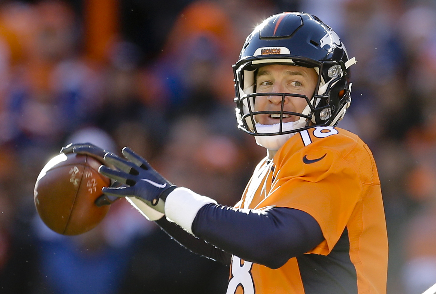 Denver Broncos quarterback Peyton Manning passes against the Pittsburgh Steelers during the first half in an NFL football divisional playoff game, Sunday, Jan. 17, 2016, in Denver. (AP Photo/Joe Mahoney)