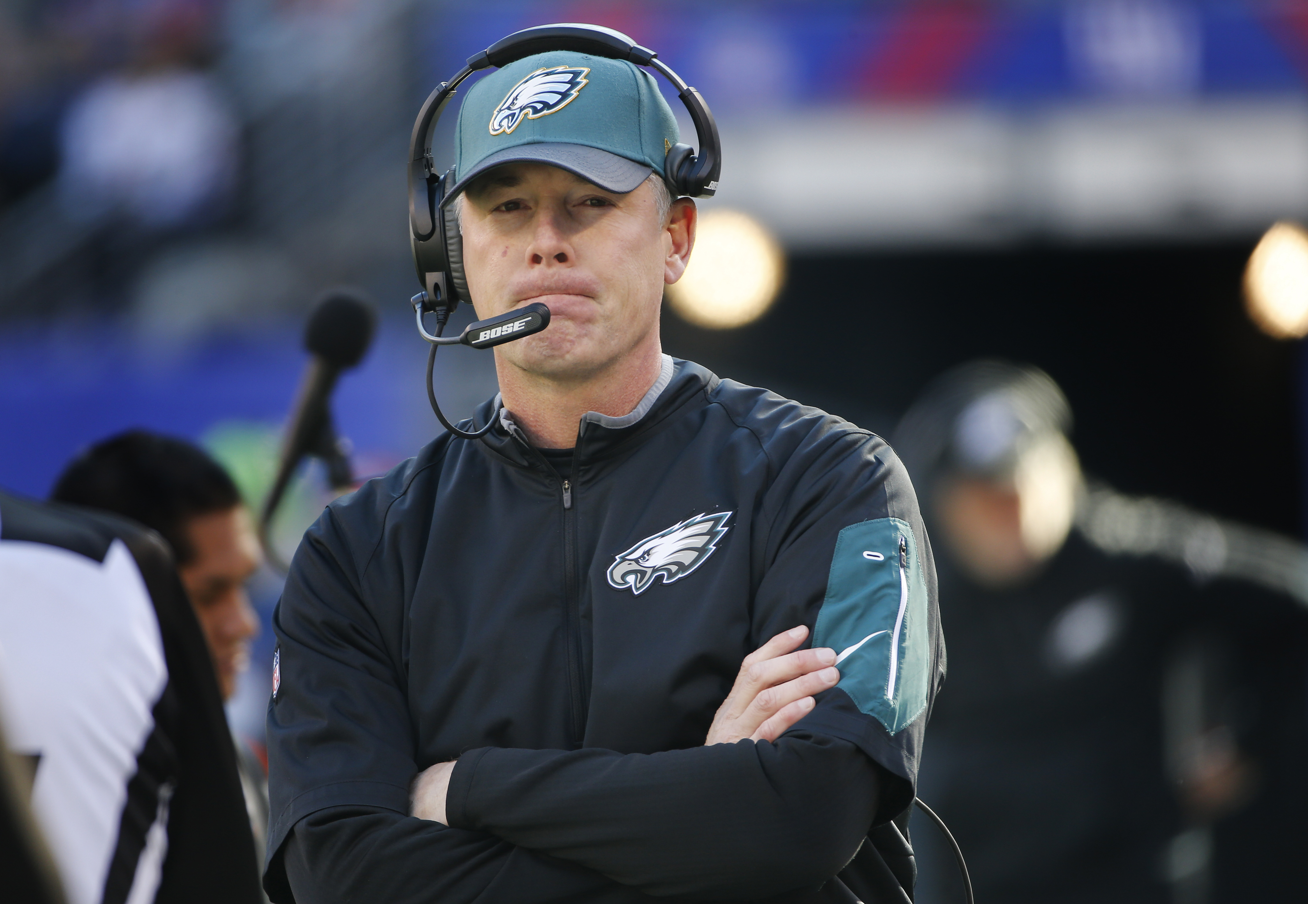 FILE - In this Jan. 3, 2016, file photo, Philadelphia Eagles interim head coach Pat Shurmur watches play from the sidelines during an NFL football game against the New York Giants, in East Rutherford, N.J. According to a person with direct knowledge of th
