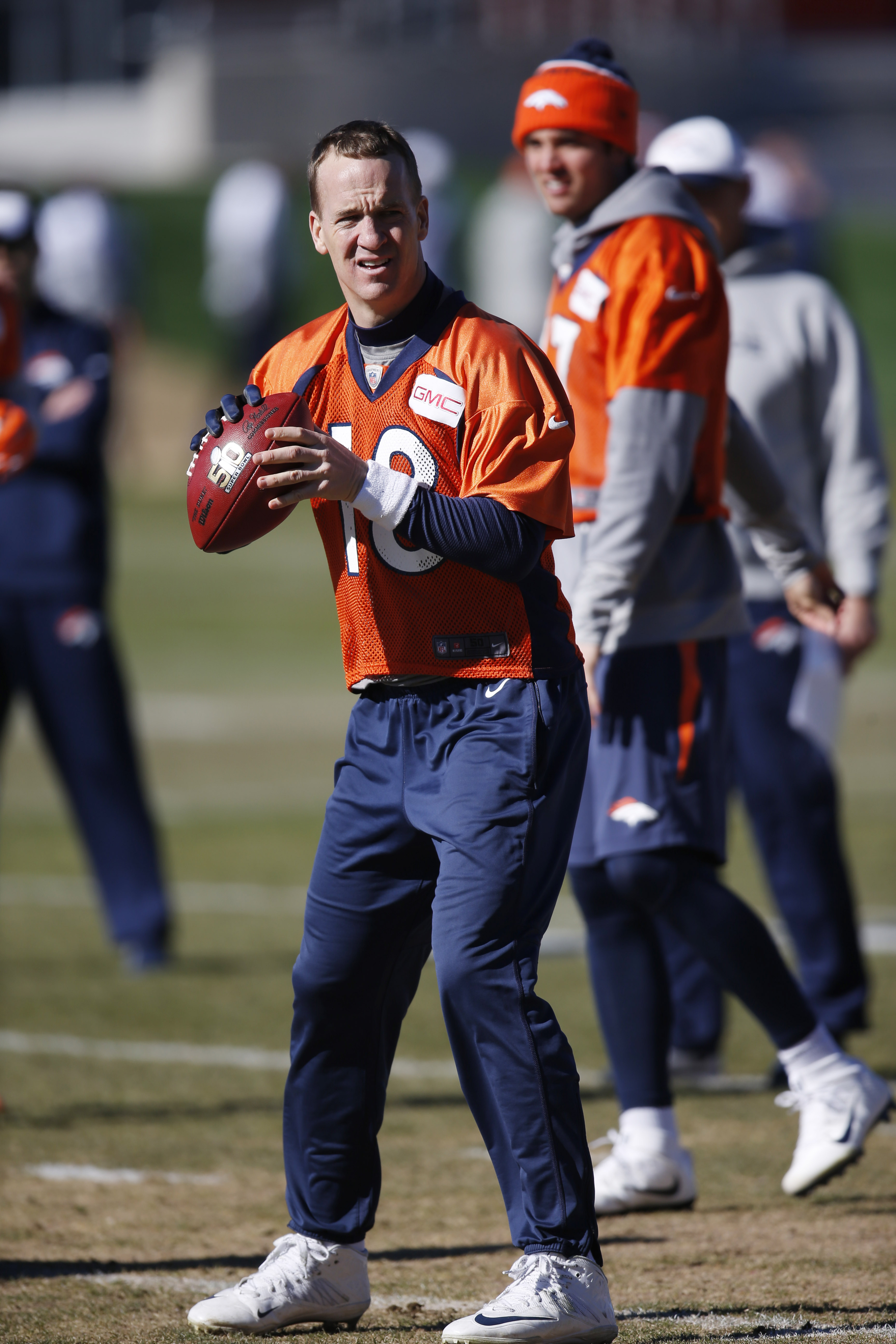 Denver Broncos quarterback Peyton Manning looks to throw during an NFL football practice at the team's headquarters Thursday, Jan. 28, 2016, in Englewood, Colo. The Broncos are preparing to face the Carolina Panthers in the Super Bowl. (AP Photo/David Zal