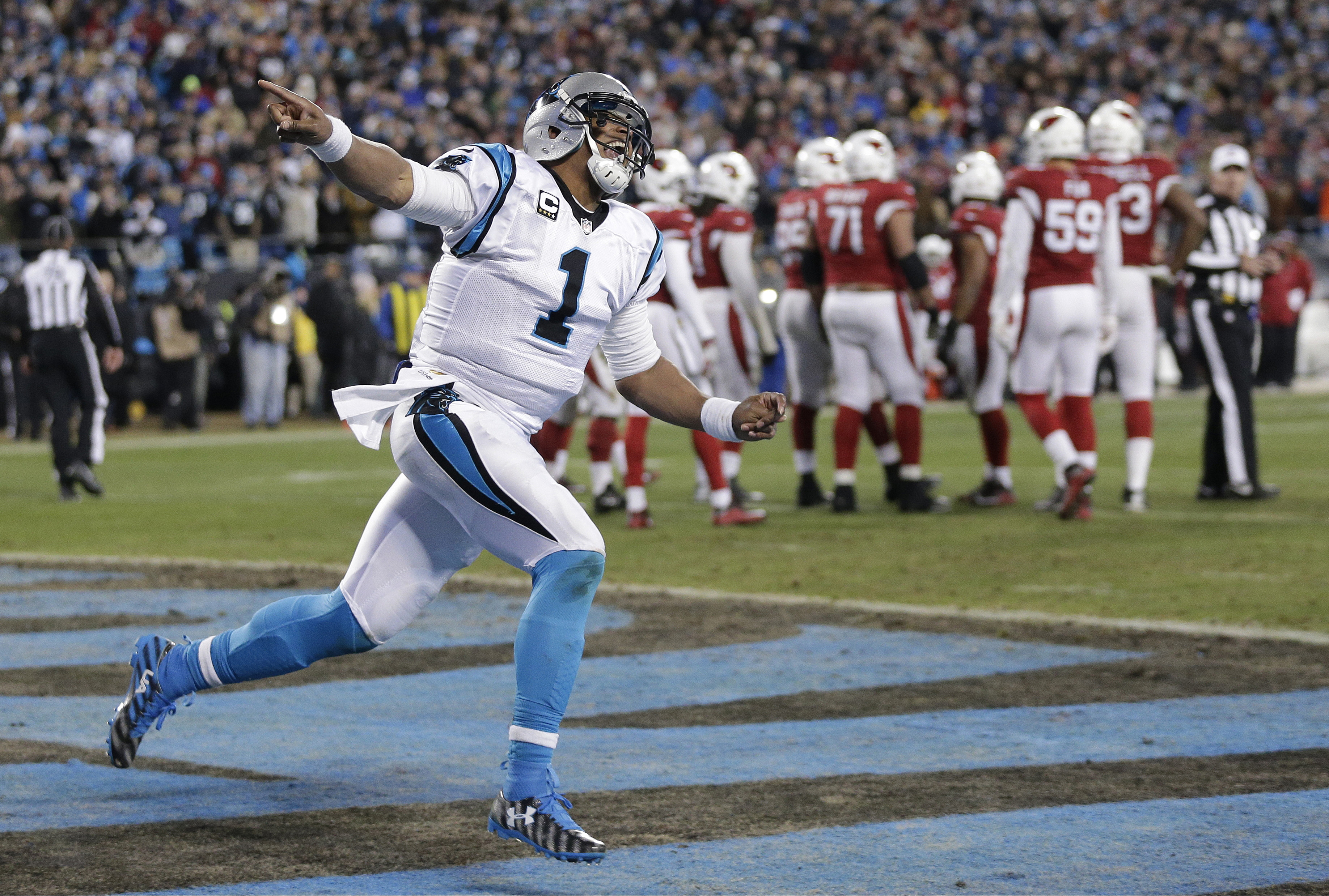 FILE - In this Jan. 24, 2016, file photo, Carolina Panthers' Cam Newton celebrates his touchdown run during the first half the NFL football NFC championship game against the Arizona Cardinals in Charlotte, N.C. The Denver Broncos may want to make sure the