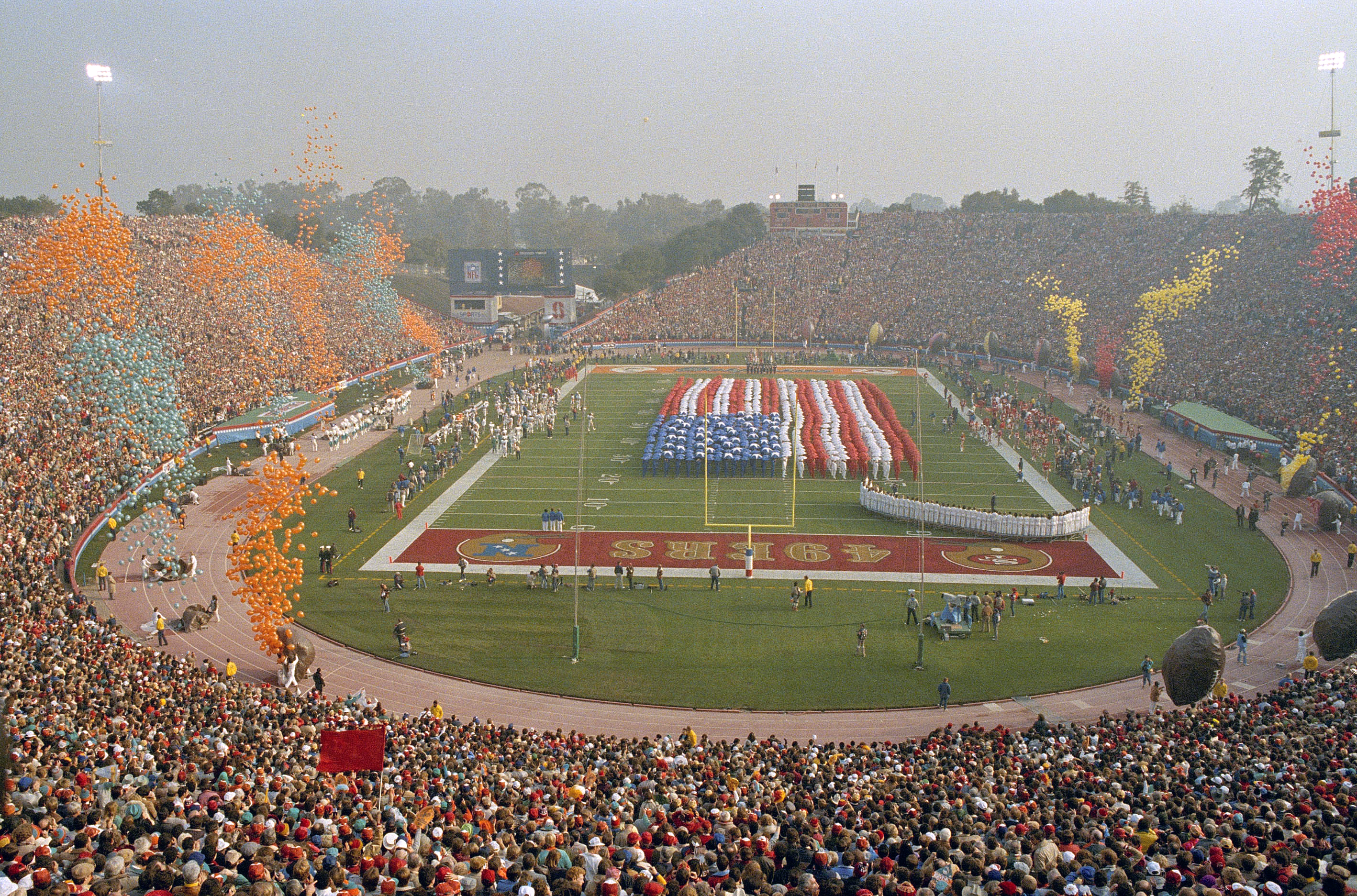 FILE - In this Jan. 20, 1985, file photo, Stanford Stadium is viewed during Super Bowl XIX between the San Francisco 49ers and the Miami Dolphins in Stanford, Calif. The Super Bowl returns to the technology-rich, football-crazed Bay Area for the first tim