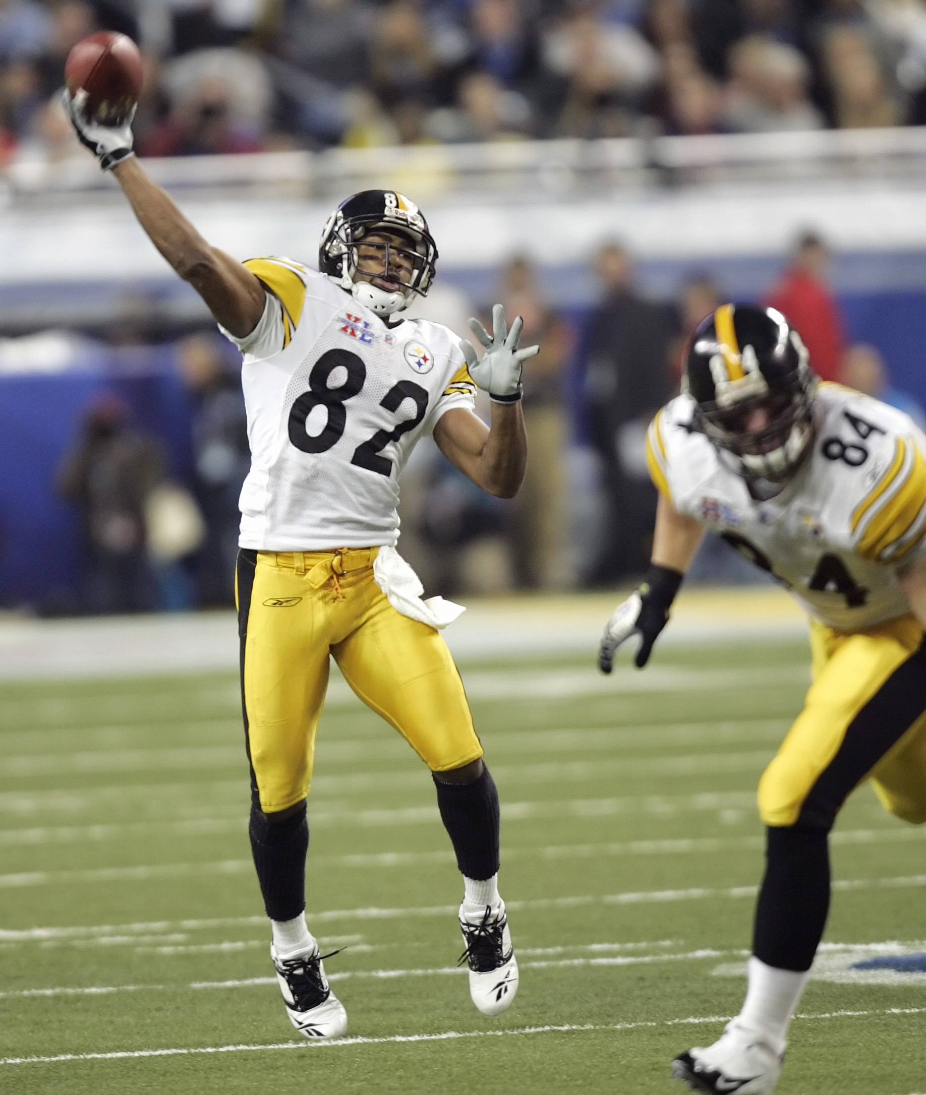 FILE - In this Feb. 5, 2006, file photo, Pittsburgh Steelers wide receiver Antwaan Randle El throws a 43-yard touchdown pass to Hines Ward against the Seattle Seahawks during the Super Bowl XL NFL football game in Detroit. The play is one of the memorable