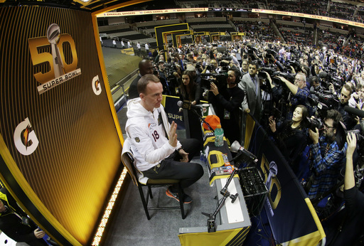 Denver Broncos quarterback Peyton Manning speaks to the media during Opening Night for the NFL Super Bowl 50 football game Monday, Feb. 1, 2016, in San Jose, Calif. (AP Photo/Charlie Riedel)