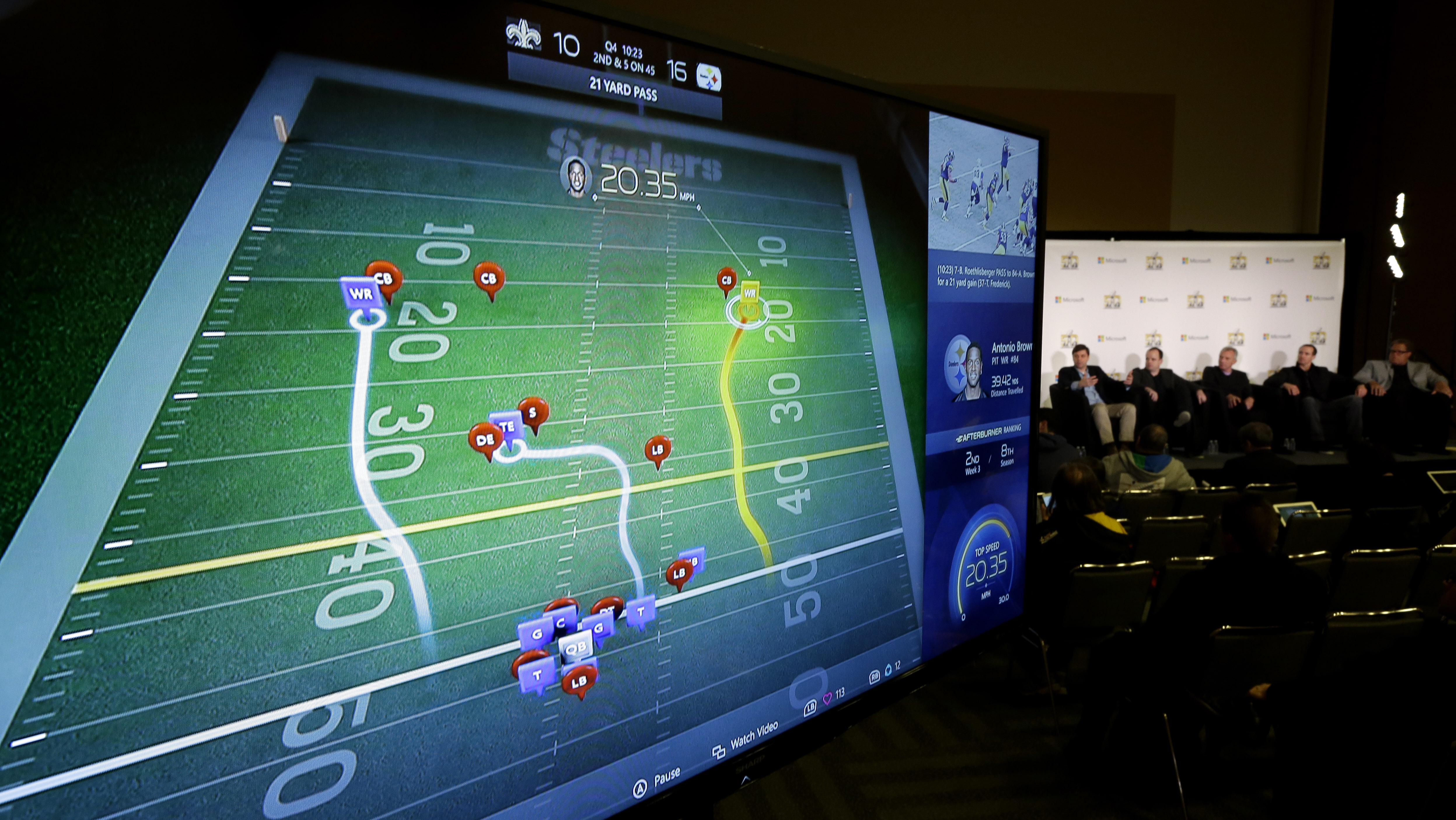 A monitor shows a technology idea as participants speak during a news conference about the role of technology in the NFL Tuesday, Feb. 2, 2016, in San Francisco. With the 50th Super Bowl days away, the NFL is looking toward the future and how technology c