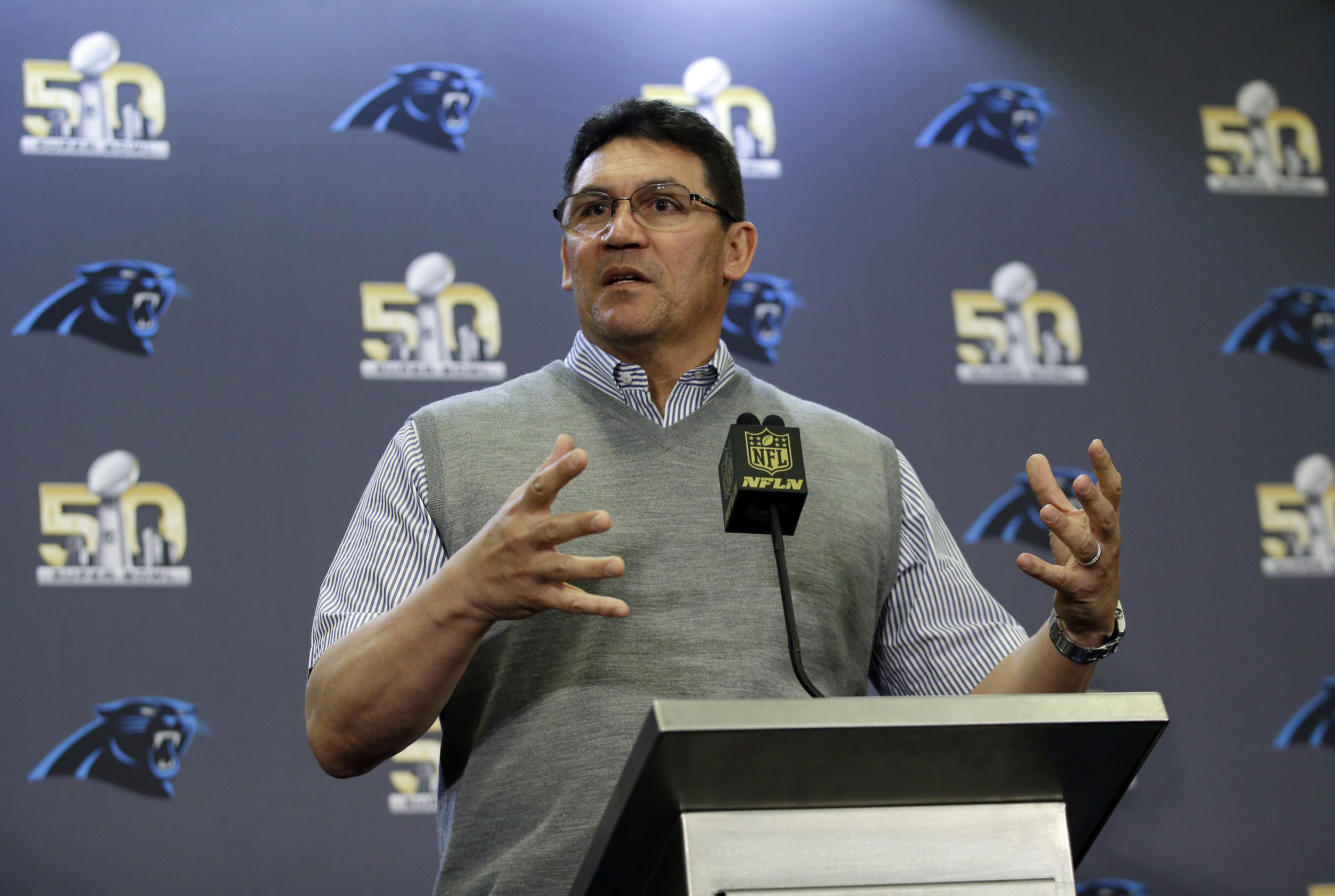 Carolina Panthers head coach Ron Rivera answers questions during a press conference Tuesday, Feb. 2, 2016 in San Jose, Calif. Carolina plays the Denver Broncos in the NFL Super Bowl 50 football game Sunday, Feb. 7, 2015, in Santa Clara, Calif. (AP Photo/M