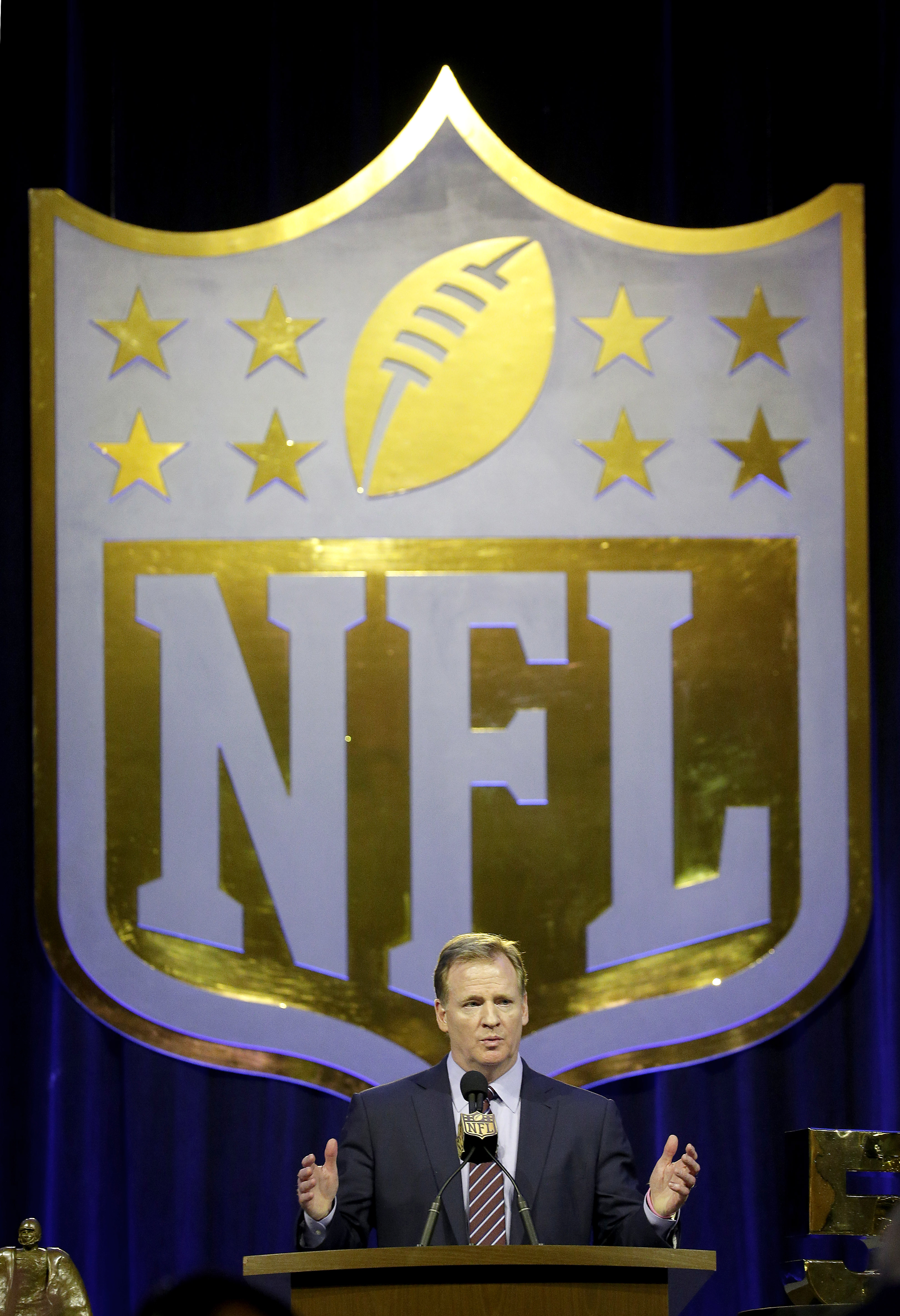 NFL Commissioner Roger Goodell speaks to the media during a news conference Friday, Feb. 5, 2016, in San Francisco. (AP Photo/Charlie Riedel)