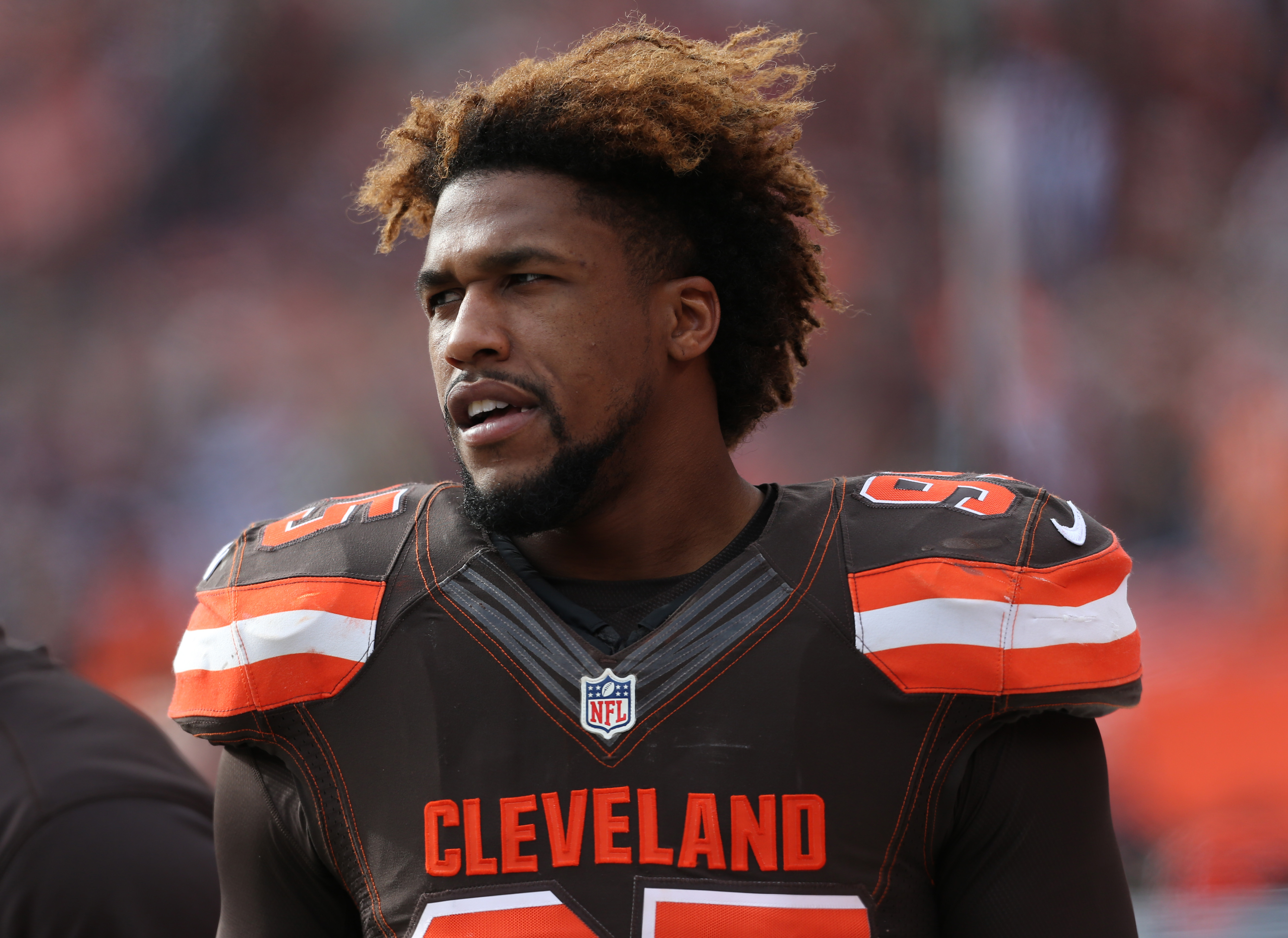 FILE - In this Dec. 6, 2015, file photo, Cleveland Browns' Armonty Bryant (95) watches during the first half of an NFL football game against the Cincinnati Bengals in Cleveland. Bryant has been indicted on two felony drug charges. Bryant and former teamma