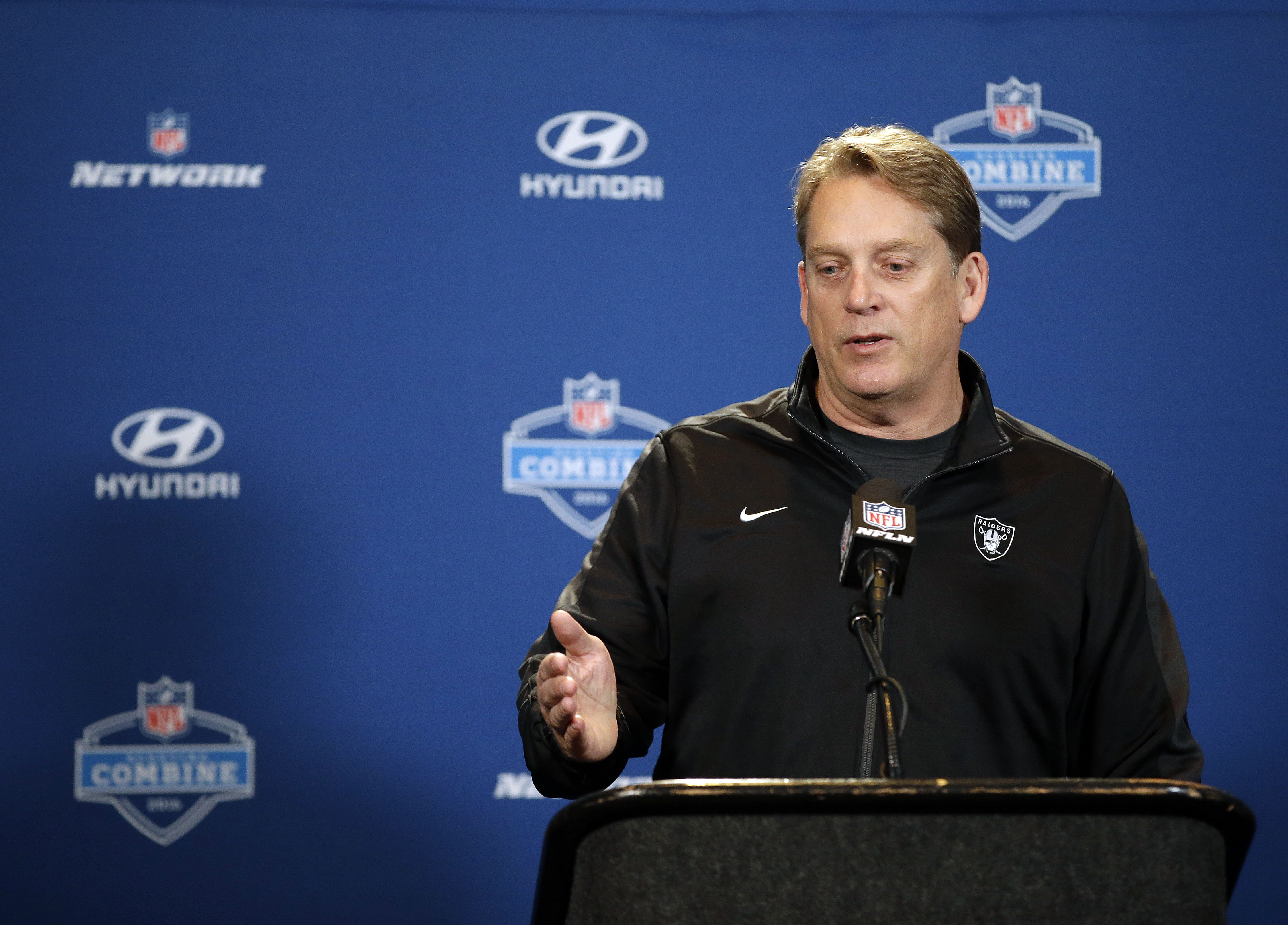 Oakland Raiders head coach Jack Del Rio responds to a question during a news conference at the NFL football scouting combine Wednesday, Feb. 24, 2016, in Indianapolis.  (AP Photo/Darron Cummings)