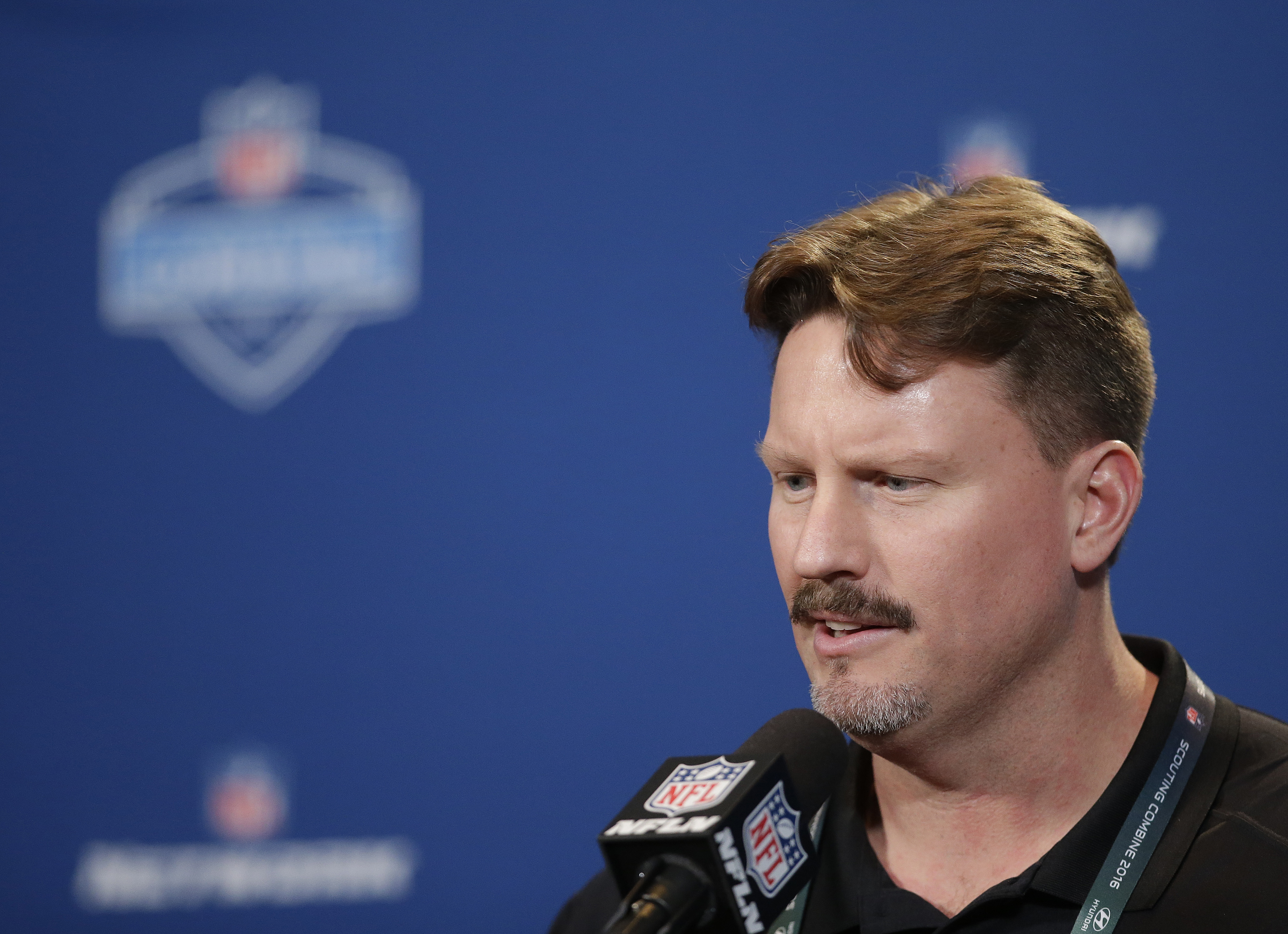 New York Giants head coach Ben McAdoo responds to a question during a news conference at the NFL football scouting combine Wednesday, Feb. 24, 2016, in Indianapolis.  (AP Photo/Darron Cummings)