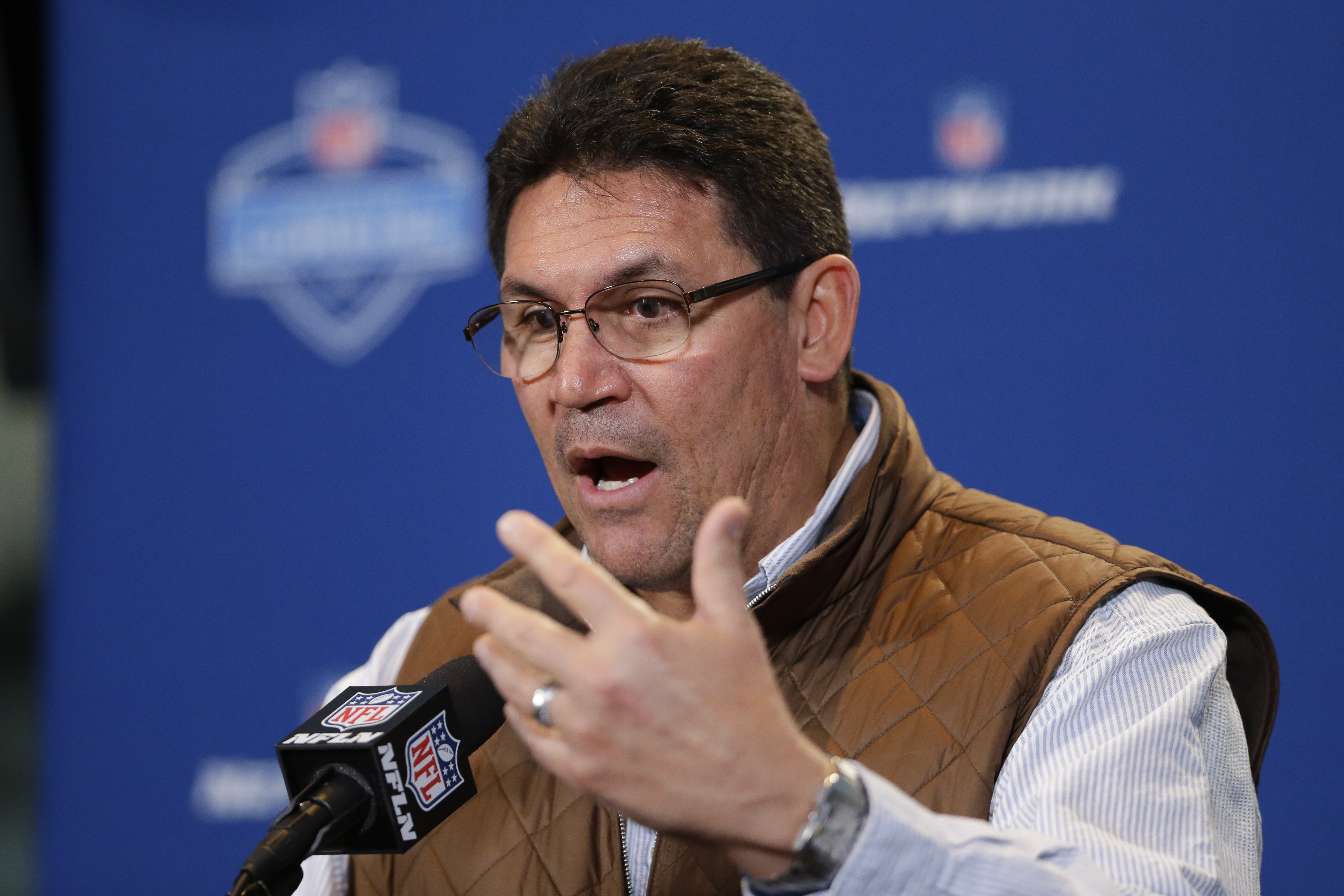 Carolina Panthers head coach Ron Rivera speaks during a press conference at the NFL football scouting combine in Indianapolis, Thursday, Feb. 25, 2016. (AP Photo/Michael Conroy)