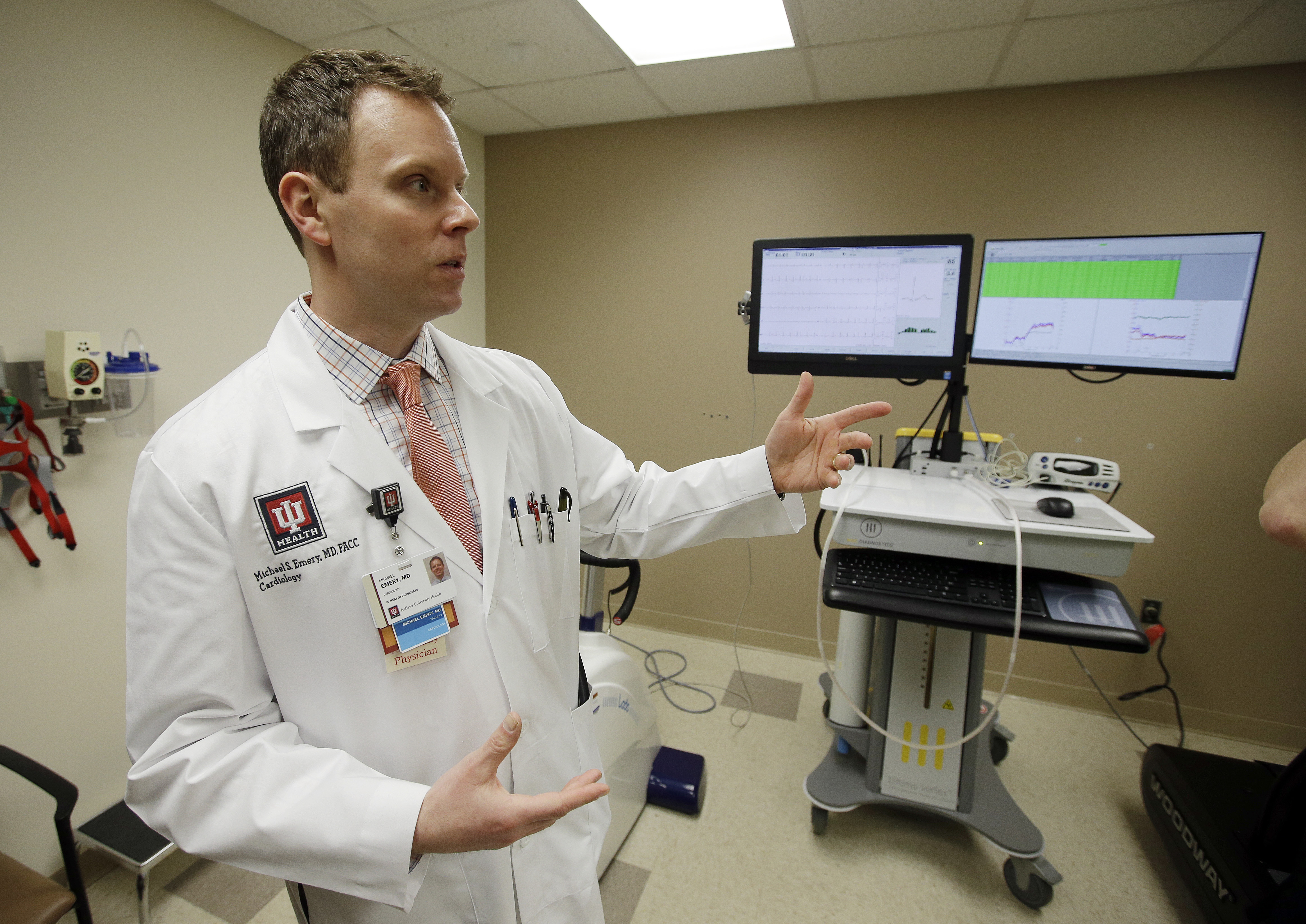 Dr. Michael Emery, medical director for the Center for Cardiovascular Care in Athletics, talks about the Indiana University Health's new sports cardiology performance lab, Thursday, Feb. 25, 2016, in Indianapolis. (AP Photo/Darron Cummings)