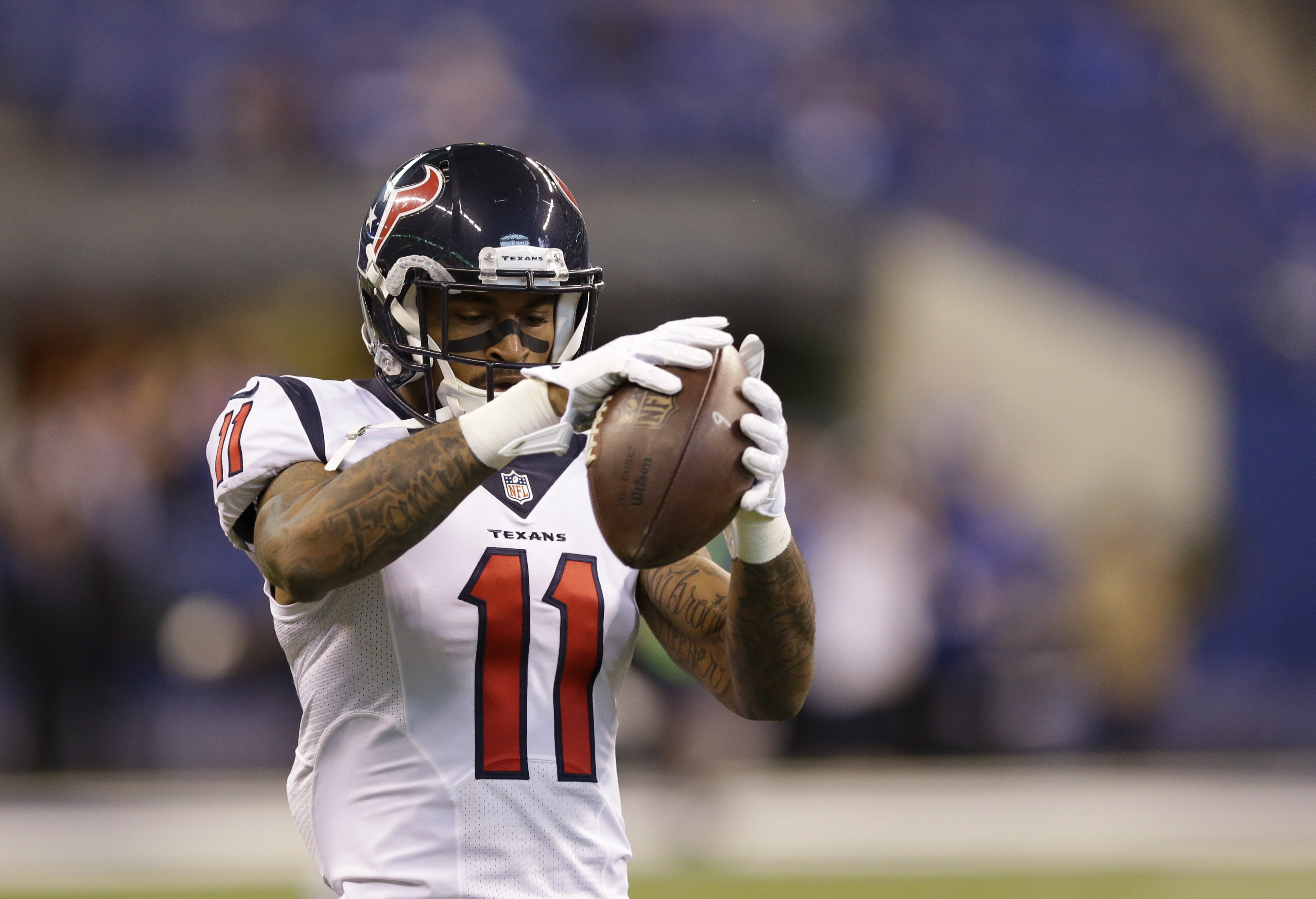 Houston Texans' Jaelen Strong (11) makes a catch before the start of an NFL football game between the Indianapolis Colts and the Houston Texans, Sunday, Dec. 20, 2015, in Indianapolis. (AP Photo/Michael Conroy)