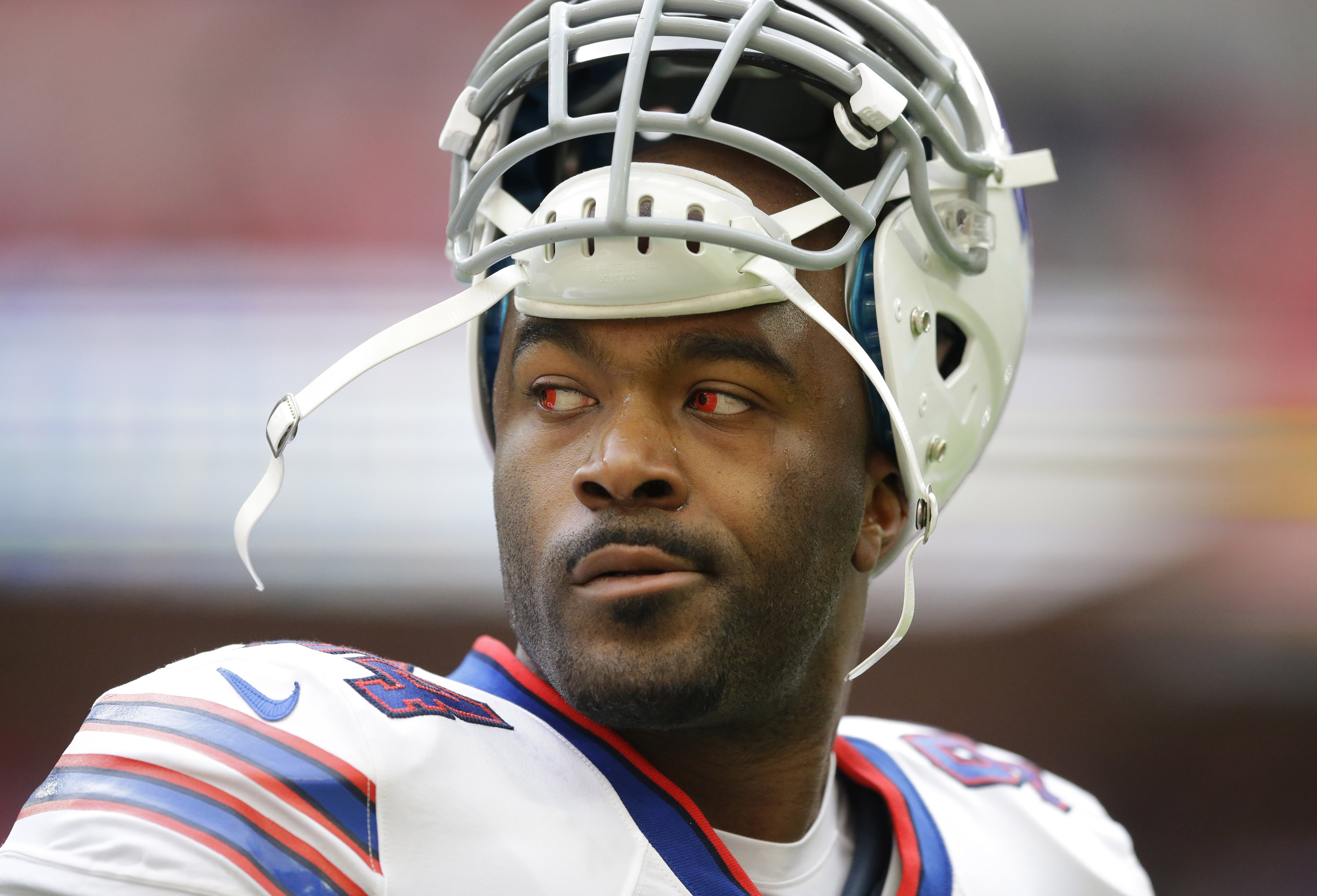 FILE - In this Oct. 25, 2015, file photo, Buffalo Bills defensive end Mario Williams stands on the field during the warm-up before an NFL game against the Jacksonville Jaguars at Wembley Stadium in Londo. The Bills released the high-priced defensive end o