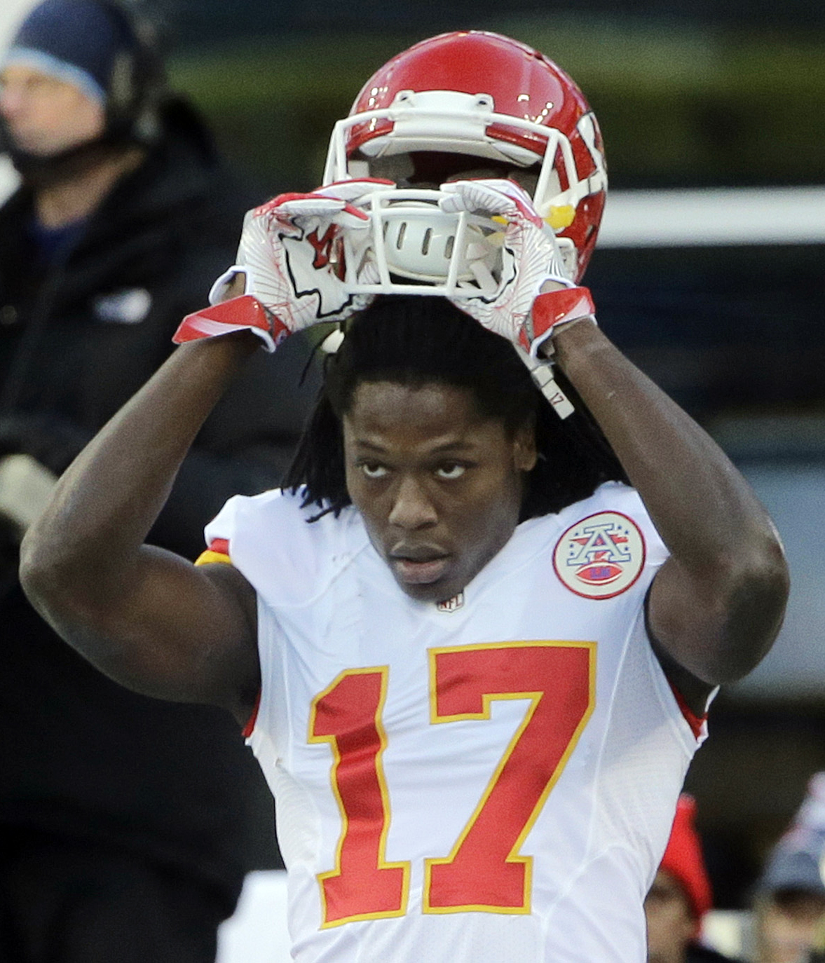 FILE - In this Jan. 16, 2016, file photoKansas City Chiefs wide receiver Chris Conley warms up before an NFL divisional playoff football game against the New England Patriots  in Foxborough, Mass. The NFL, hoping to help current and former players transit