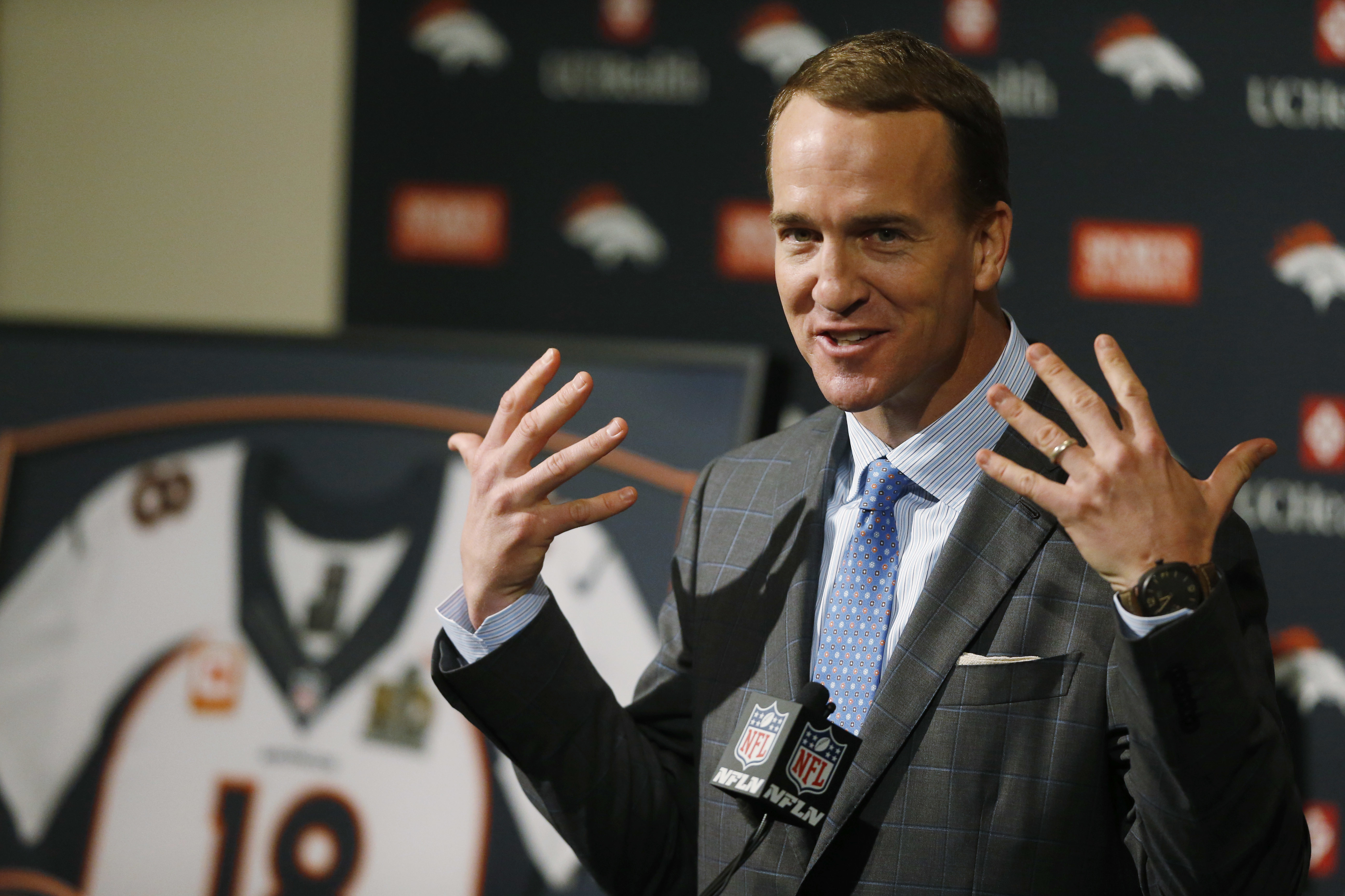Denver Broncos quarterback Peyton Manning speaks during his retirement announcement at team headquarters Monday, March 7, 2016, in Englewood, Colo. Manning, who has been in the NFL for the past 18 years, is retiring after winning five MVP trophies and two