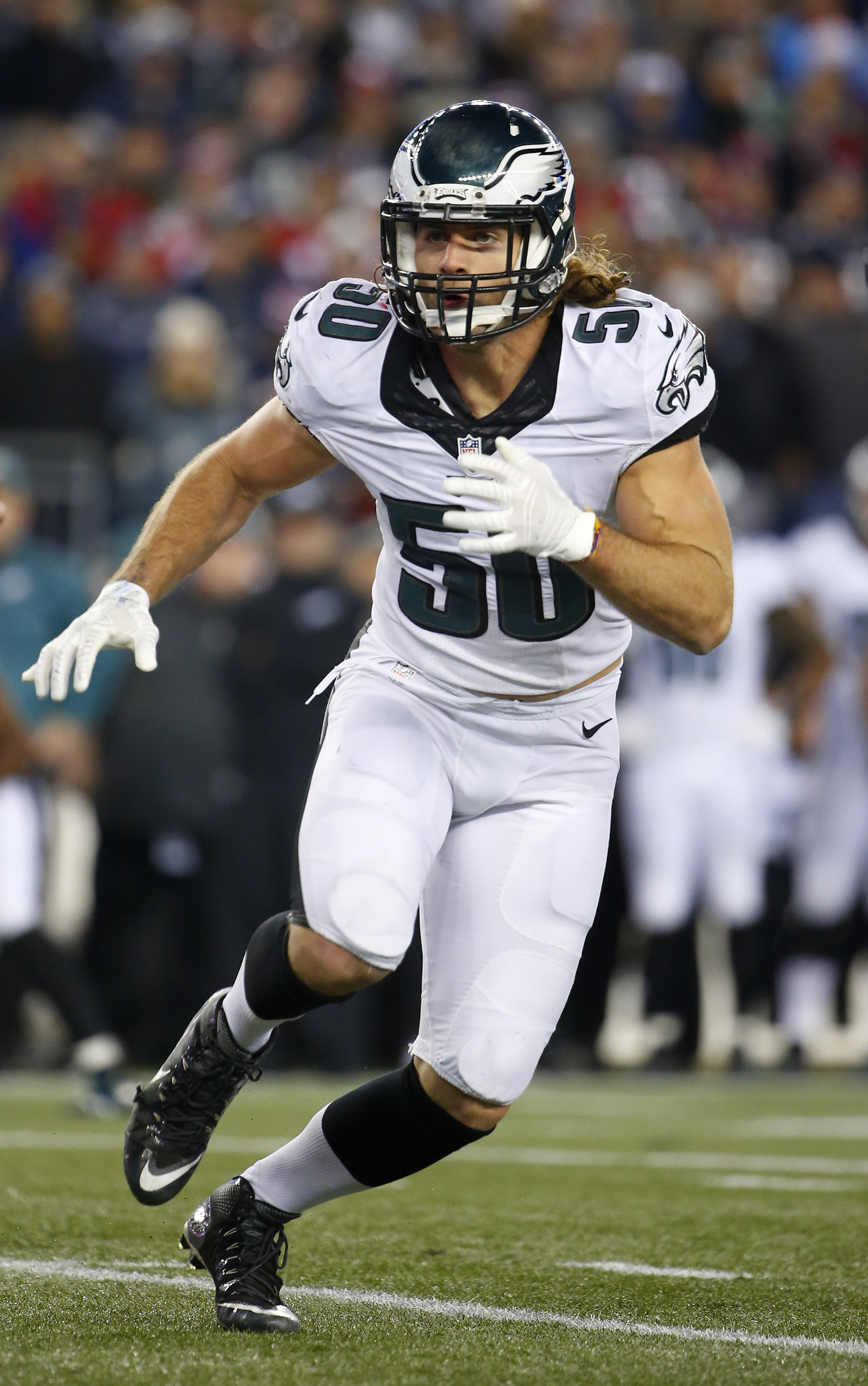 Philadelphia Eagles linebacker Kiko Alonso during a NFL football game against the New England Patriots at Gillette Stadium in Foxborough, Mass.Sunday, Dec. 6, 2015. (Winslow Townson/AP Images for Panini)