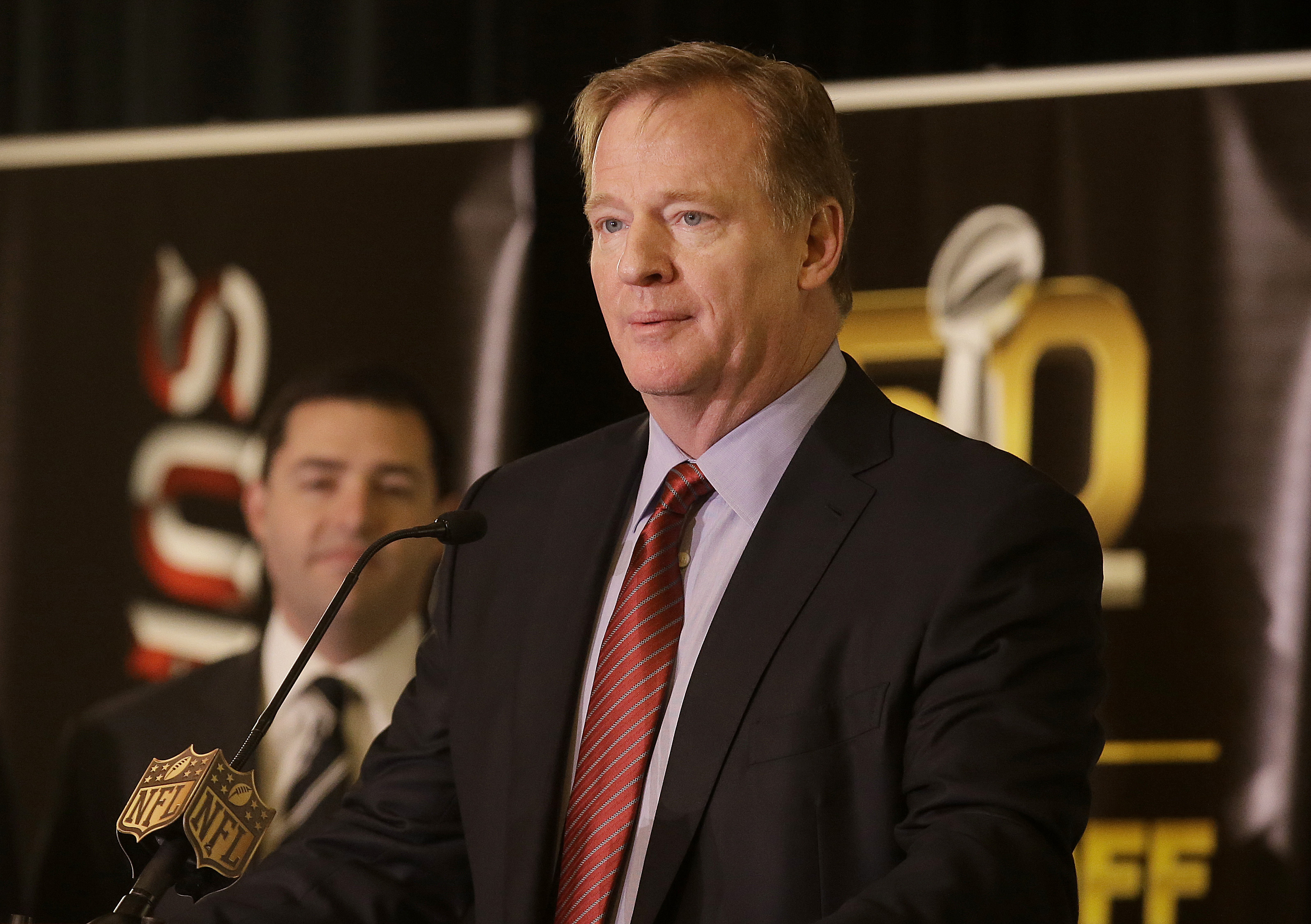 NFL Commissioner Roger Goodell speaks at a news conference in San Francisco, Monday, Feb. 8, 2016. (AP Photo/Jeff Chiu)