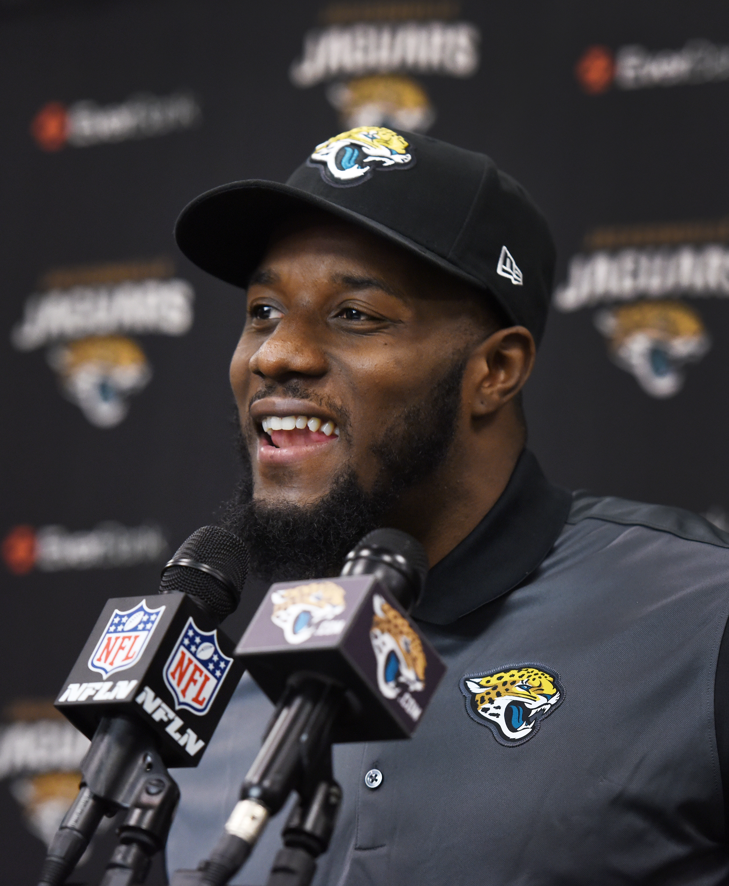 Tashaun Gipson speaks at a press conference after signing with the Jacksonville Jaguars NFL football team in Jacksonville, Fla., Thursday, March 10, 2016. Gipson, a free safety who intercepted 14 passes in four years in Cleveland, signed a five-year deal