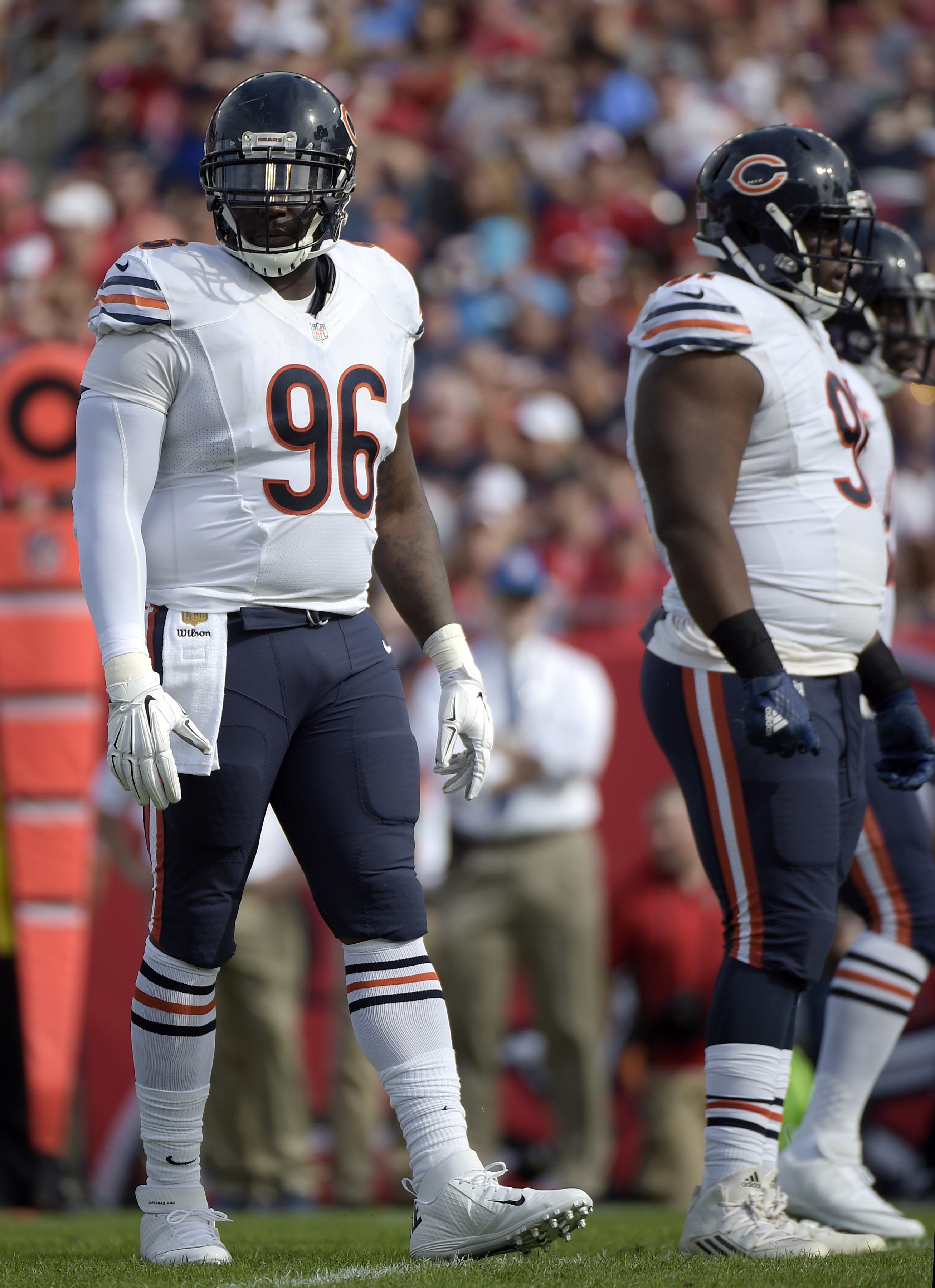 FILE - In this Dec. 27, 2015, file photo, Chicago Bears defensive end Jarvis Jenkins (96) stands at the line of scrimmage during the first half of an NFL football game against the Tampa Bay Buccaneers in Tampa, Fla. The New York Jets have signed free-agen
