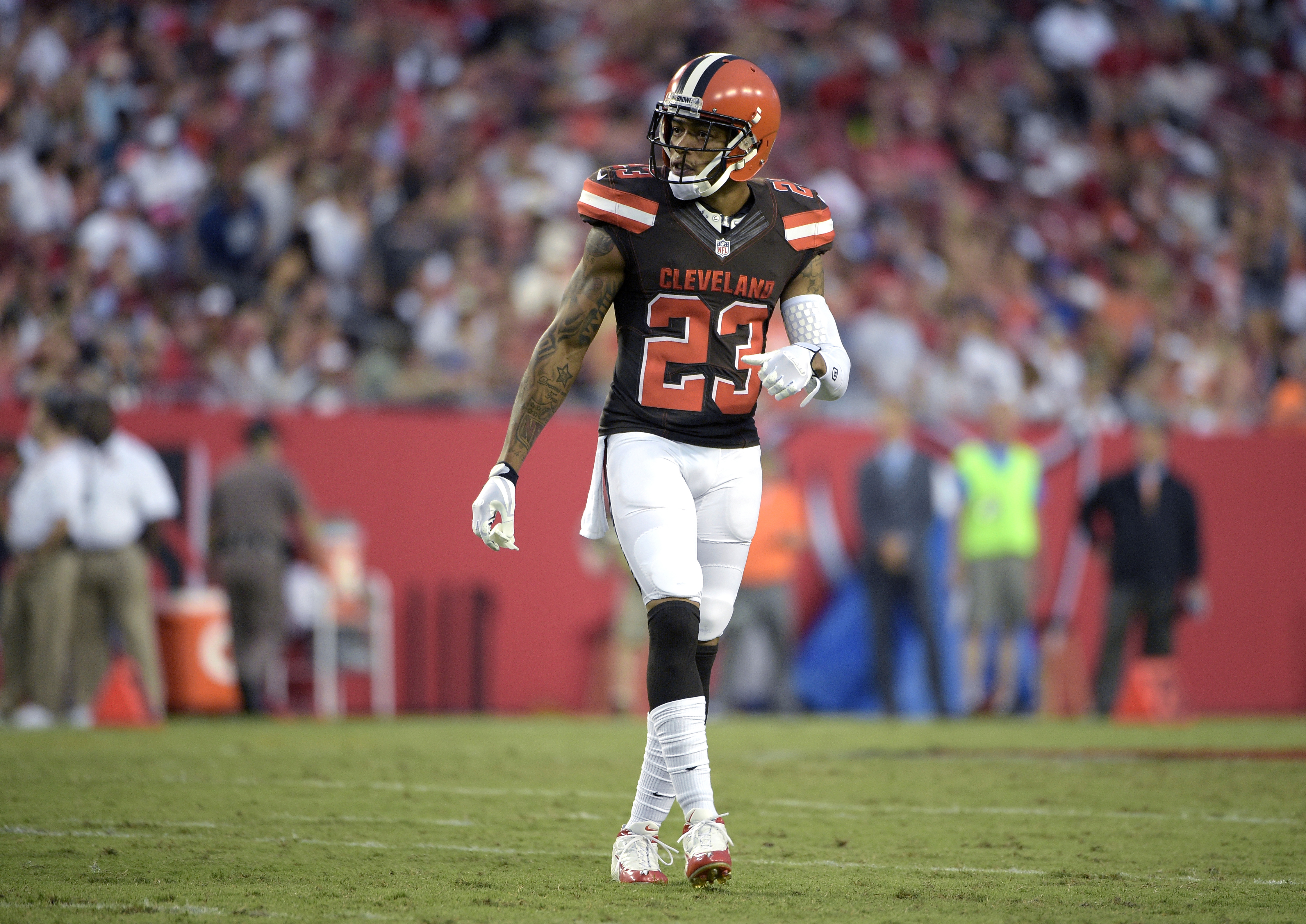 FILE - In this Aug. 29, 2015, file photo, Cleveland Browns cornerback Joe Haden prepares for a play during the the team's NFL preseason football game against the Tampa Bay Buccaneers in Tampa, Fla. Haden underwent surgery on his ankle earlier this week an