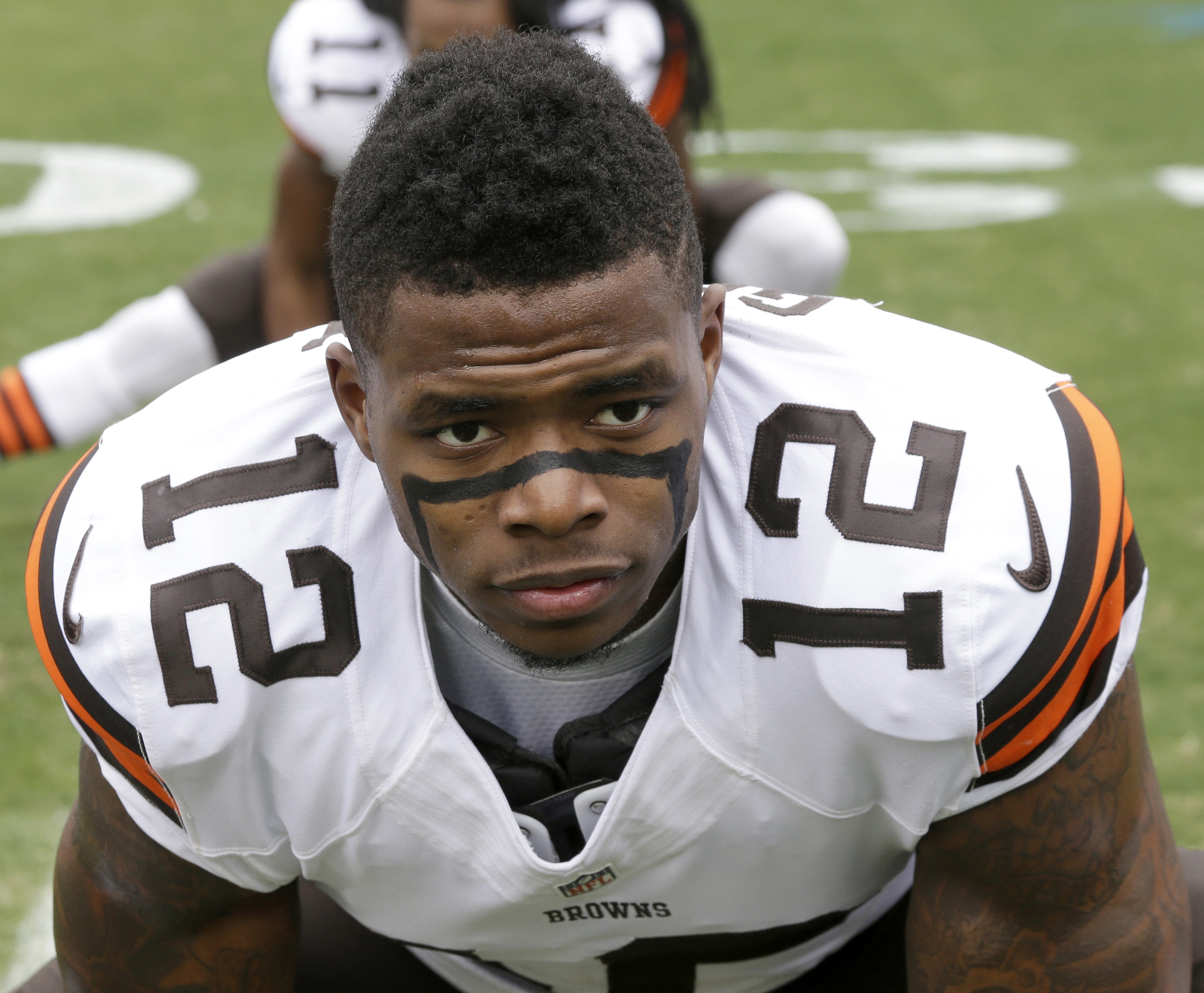 FILE - In this Dec. 21, 2014, file photo, Cleveland Browns' Josh Gordon (12) stretches before an NFL football game against the Carolina Panthers in Charlotte, N.C. The NFL has denied suspended receiver Gordons application for reinstatement. A league spoke