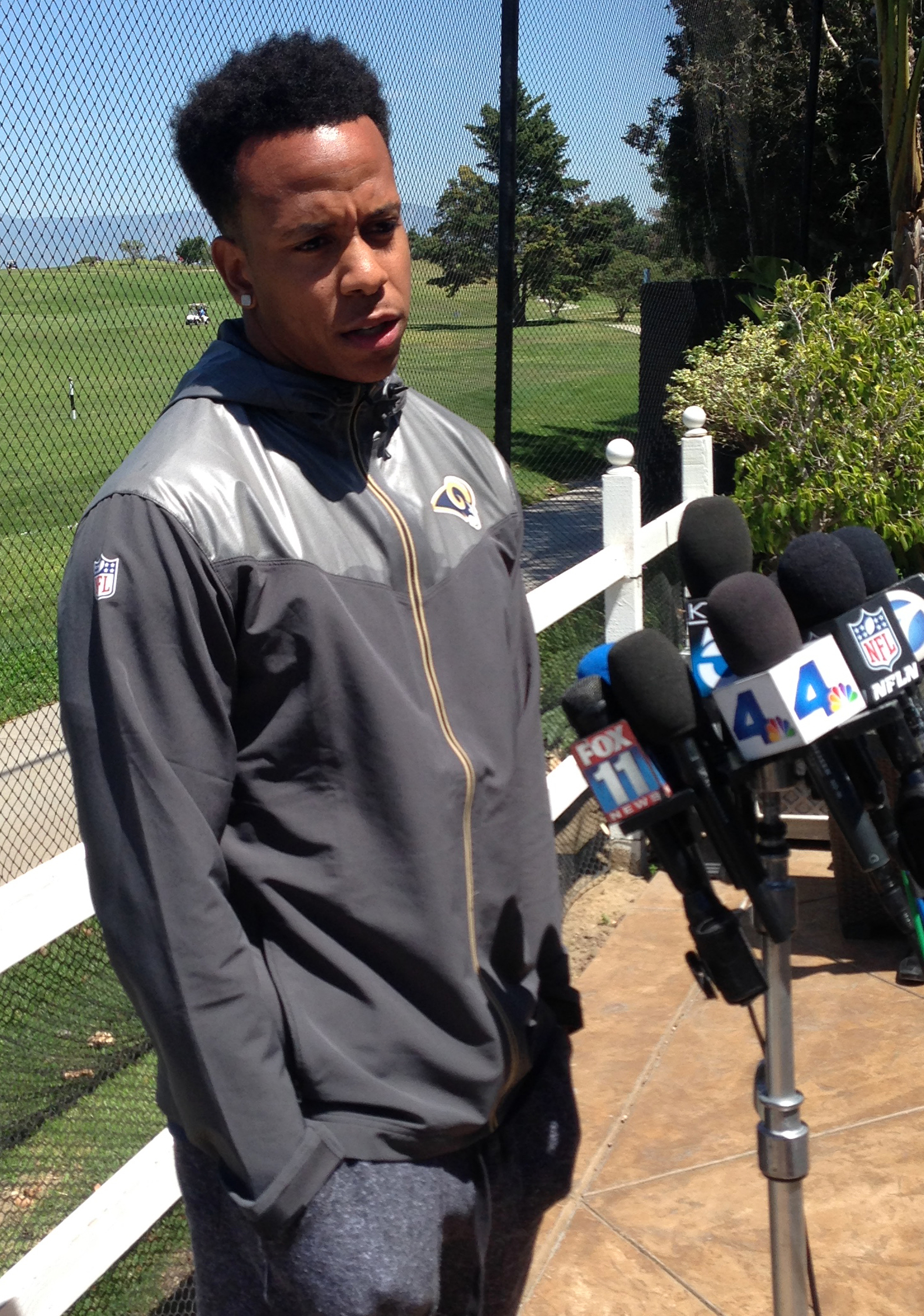 The Los Angeles Rams cornerback Trumaine Johnson talks to reporters at the Rams facility in Oxnard, Calif., Monday, April 18, 2016. The Rams are settling into their new city, and any trepidation about their franchise's move is quickly losing out to excite