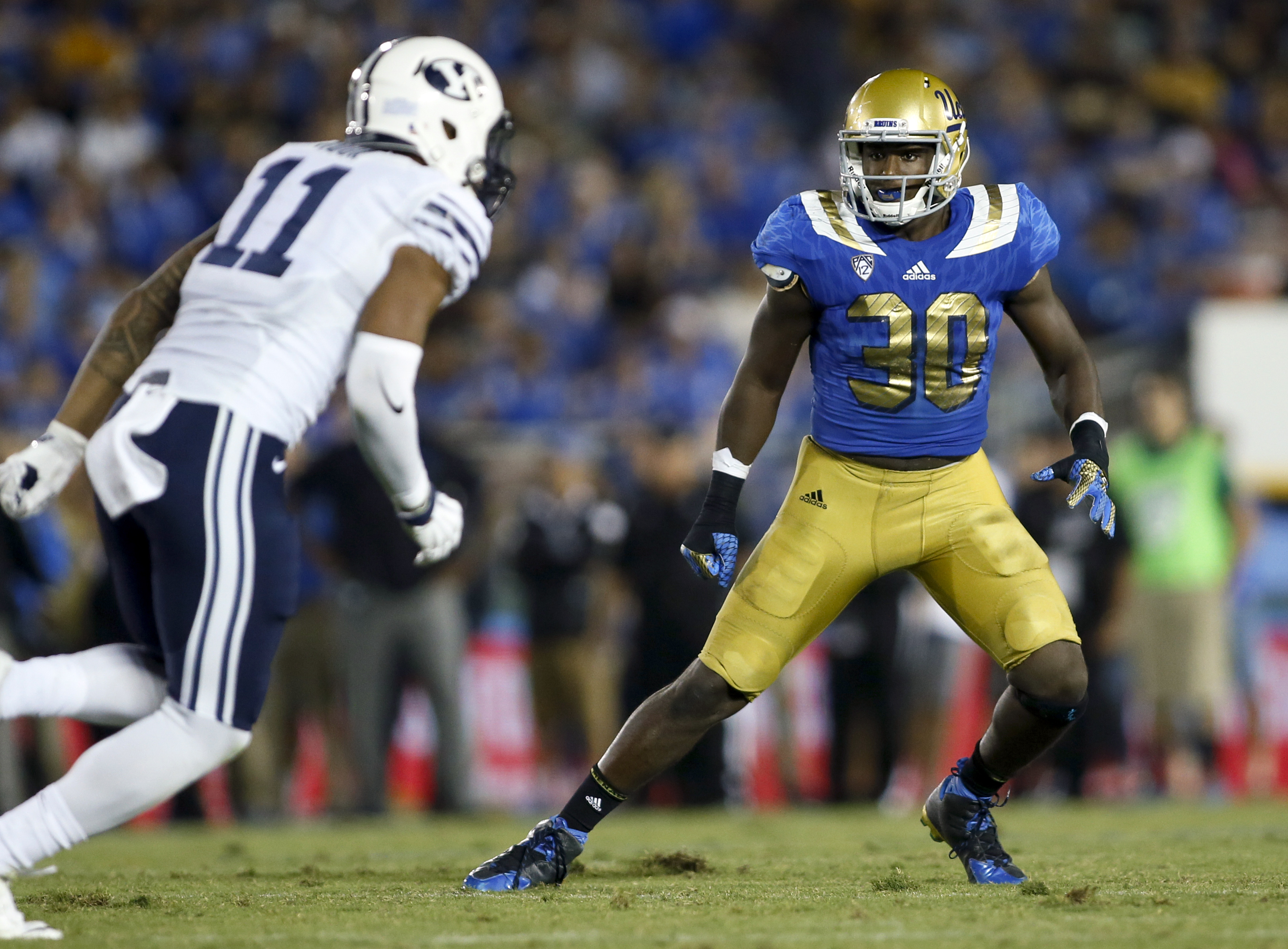 FILE - In this Sept. 19, 2015, file photo, UCLA linebacker Myles Jack in action against BYU during an NCAA college football game in Pasadena, Calif. Jack is one of the top defensive players available in the NFL Draft, which starts April 28 in Chicago. (AP