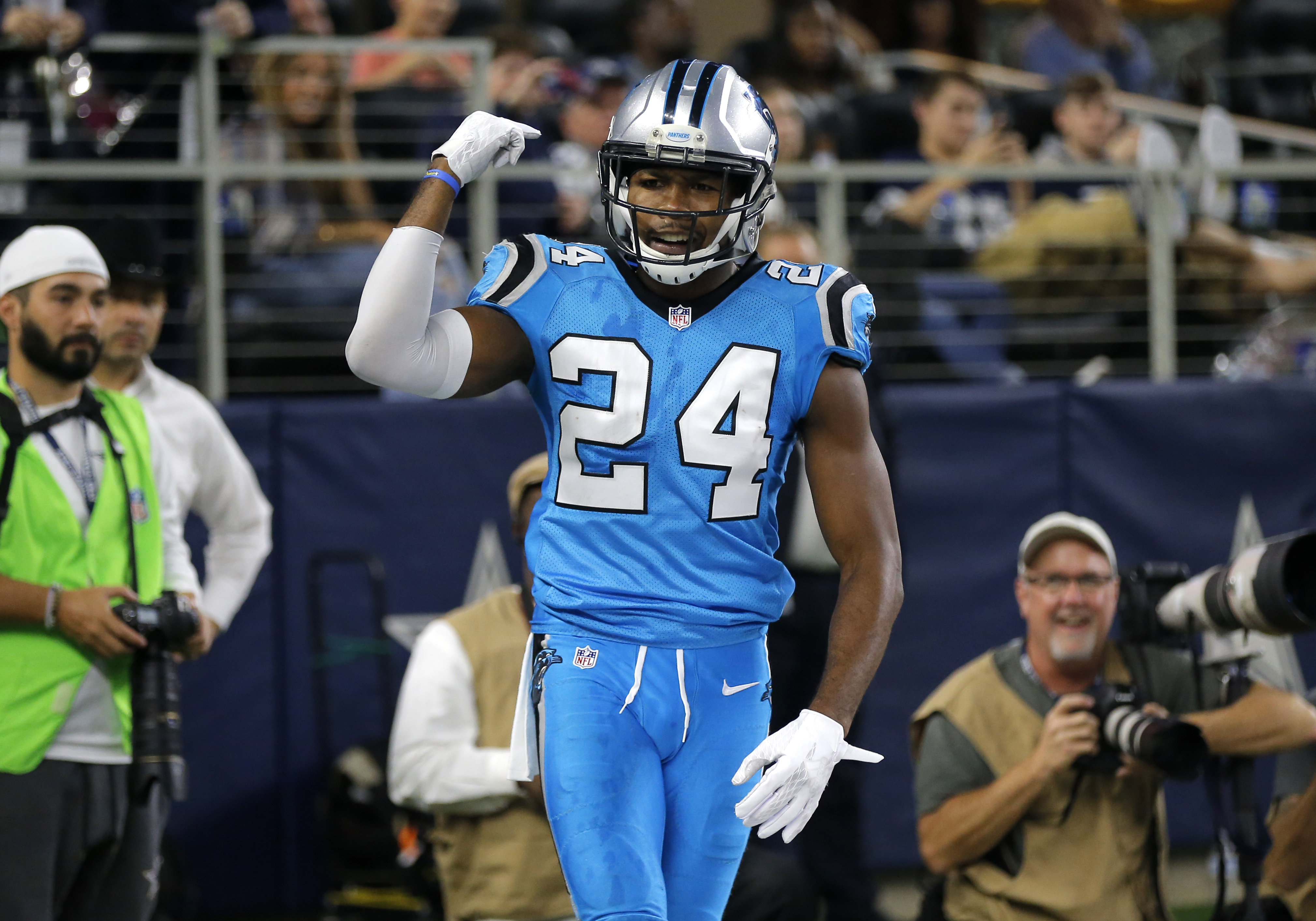 FILE - In this Thursday, Nov. 26, 2015 file photo, Carolina Panthers' Josh Norman gestures in the end zone after breaking up a pass intended for Dallas Cowboys' Dez Bryant during the second half of an NFL football game in Arlington, Texas. Josh Norman, on